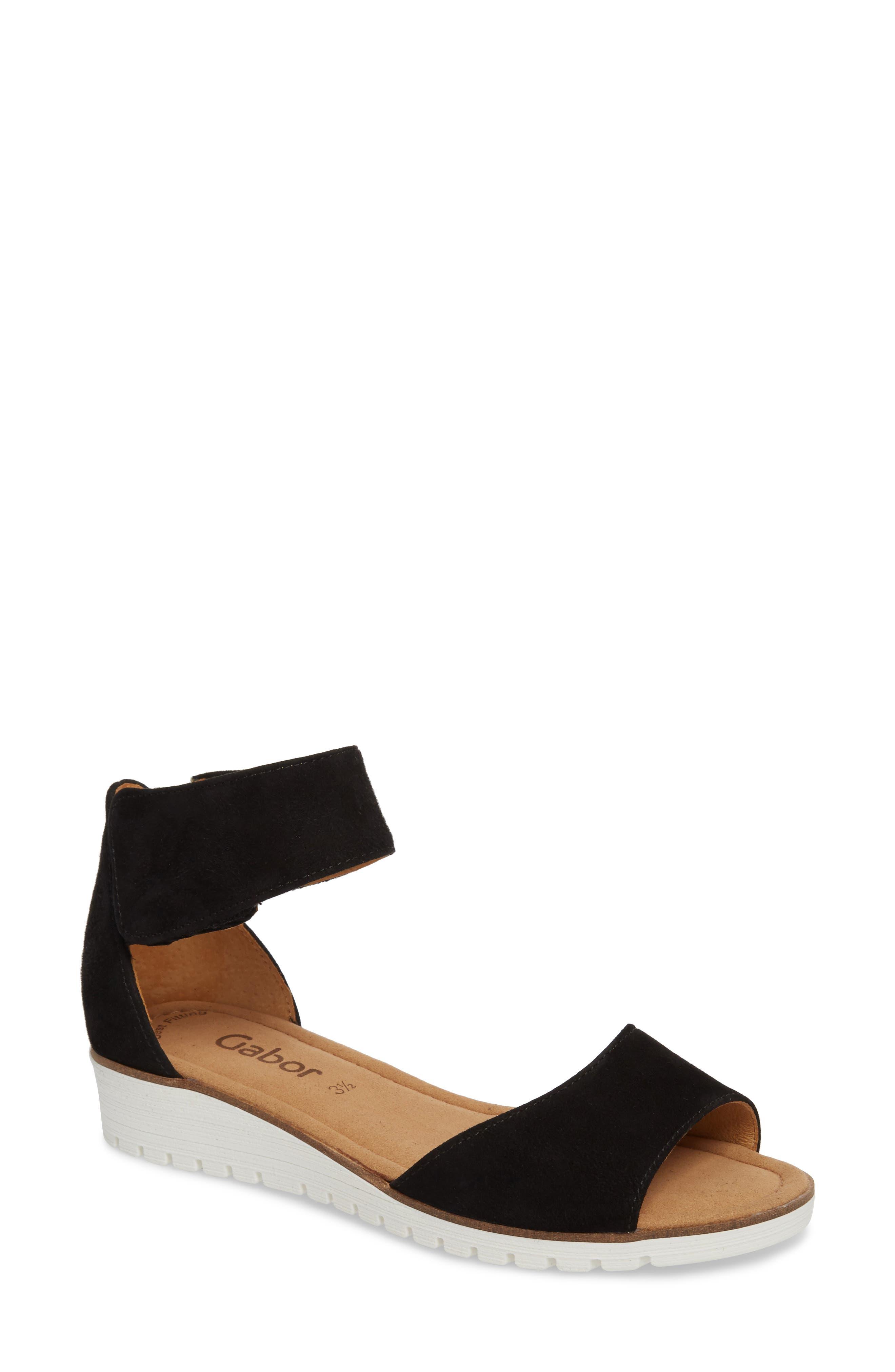 Ankle Strap Sandal,                         Main,                         color, BLACK SUEDE
