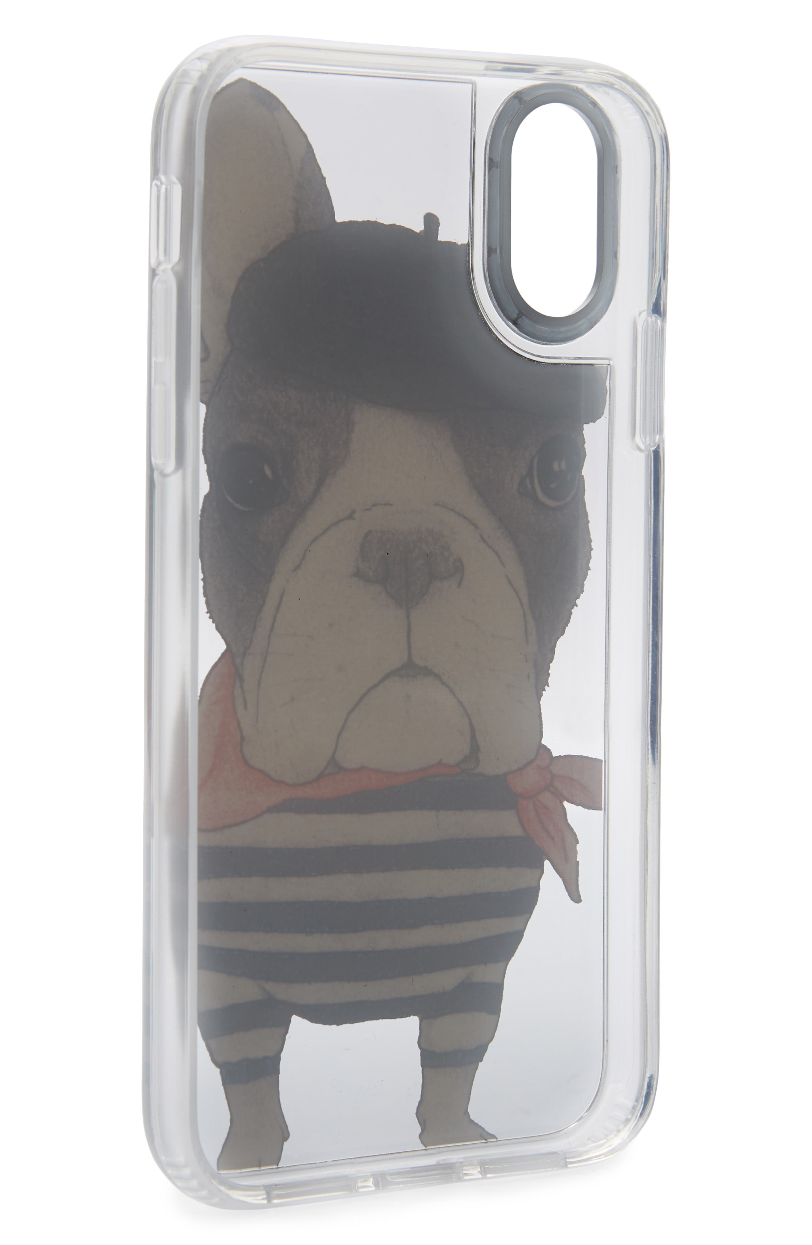 CASETIFY,                             French Bulldog Grip iPhone X/Xs, XR & X Max Case,                             Alternate thumbnail 2, color,                             BLACK/ WHITE/ RED