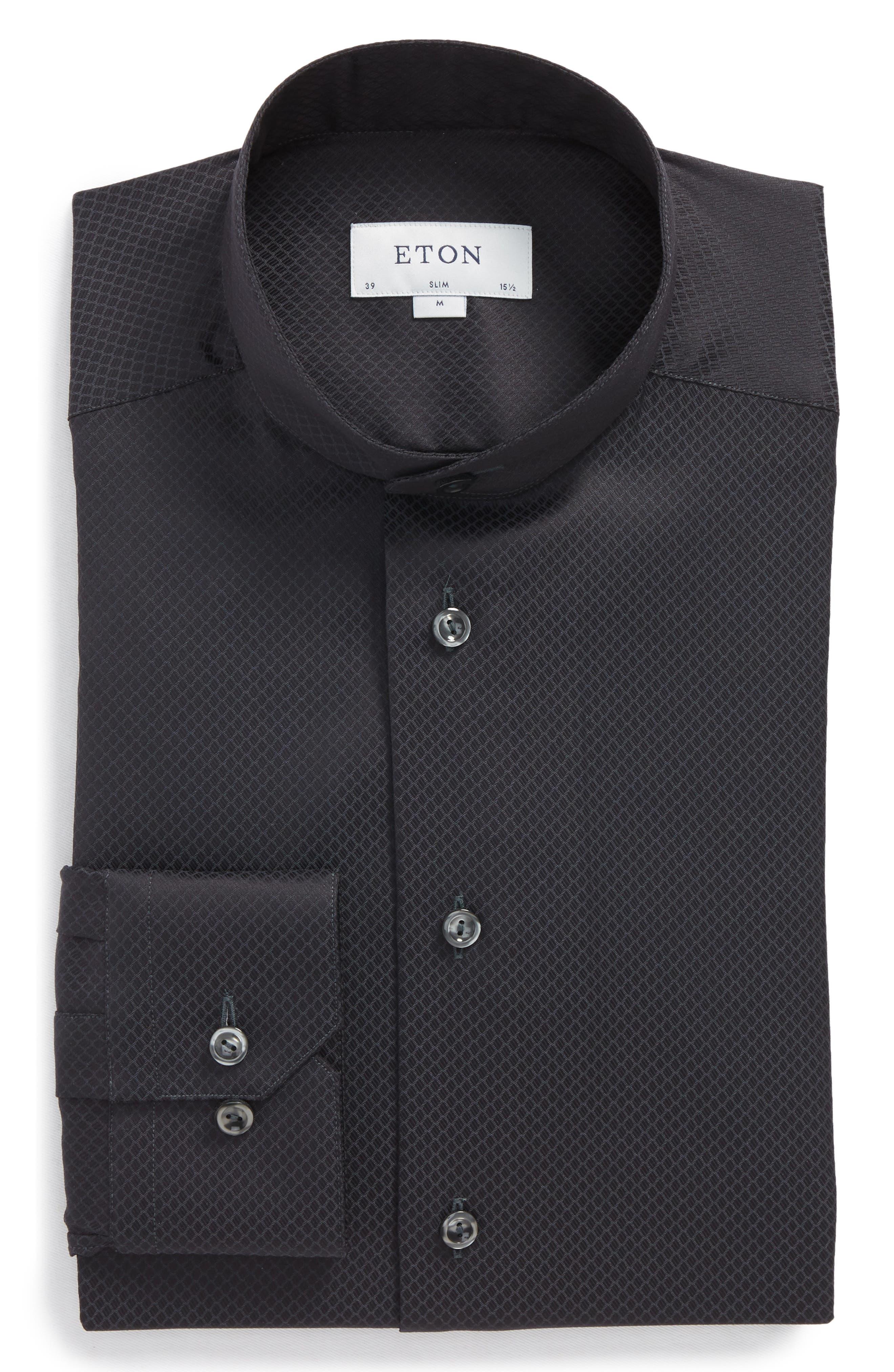 Slim Fit Solid Dress Shirt,                             Alternate thumbnail 5, color,                             001