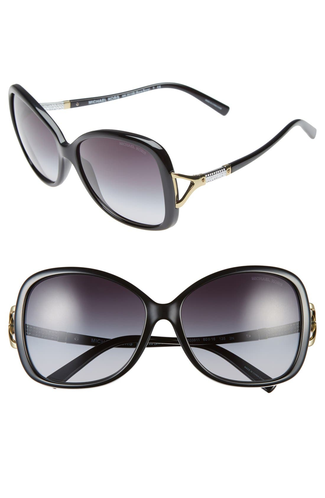 Collection 60mm Butterfly Sunglasses,                             Main thumbnail 1, color,                             001