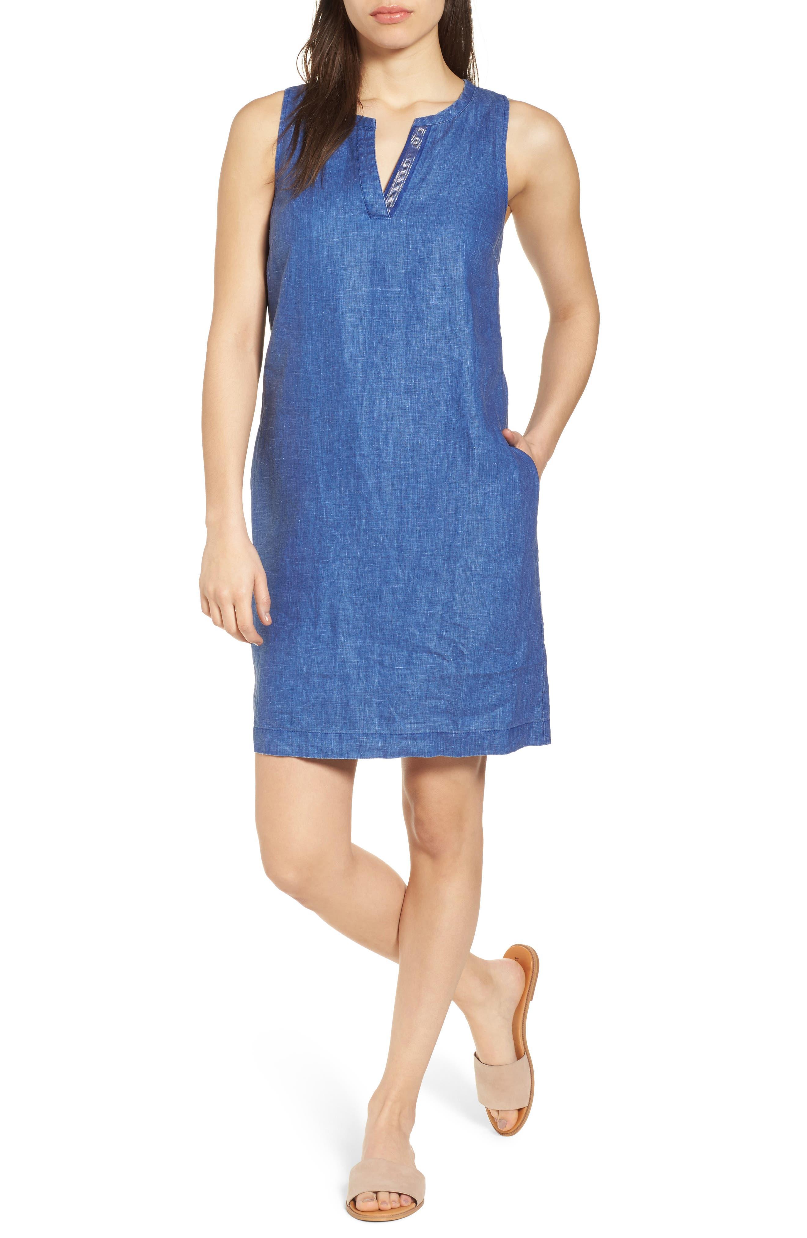 Tommy Bahama Sea Glass Linen Shift Dress, Blue