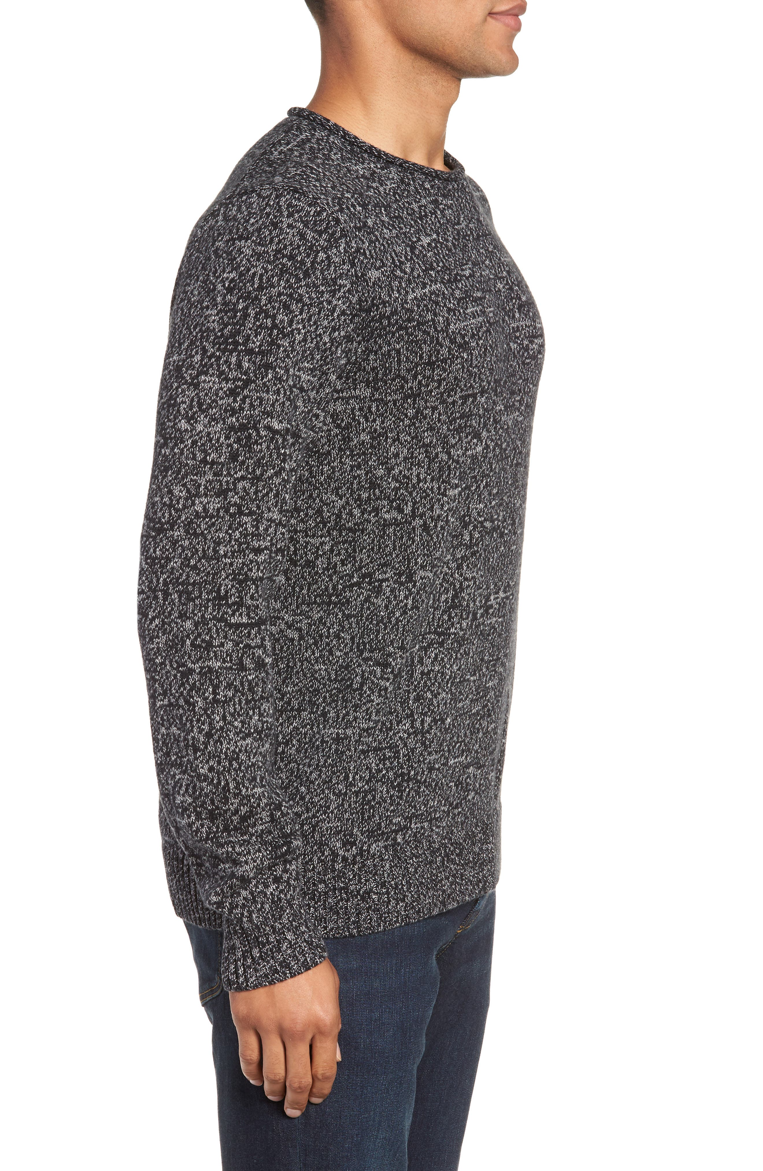Marled Cotton & Cashmere Roll Neck Sweater,                             Alternate thumbnail 3, color,                             BLACK CAVIAR MARL