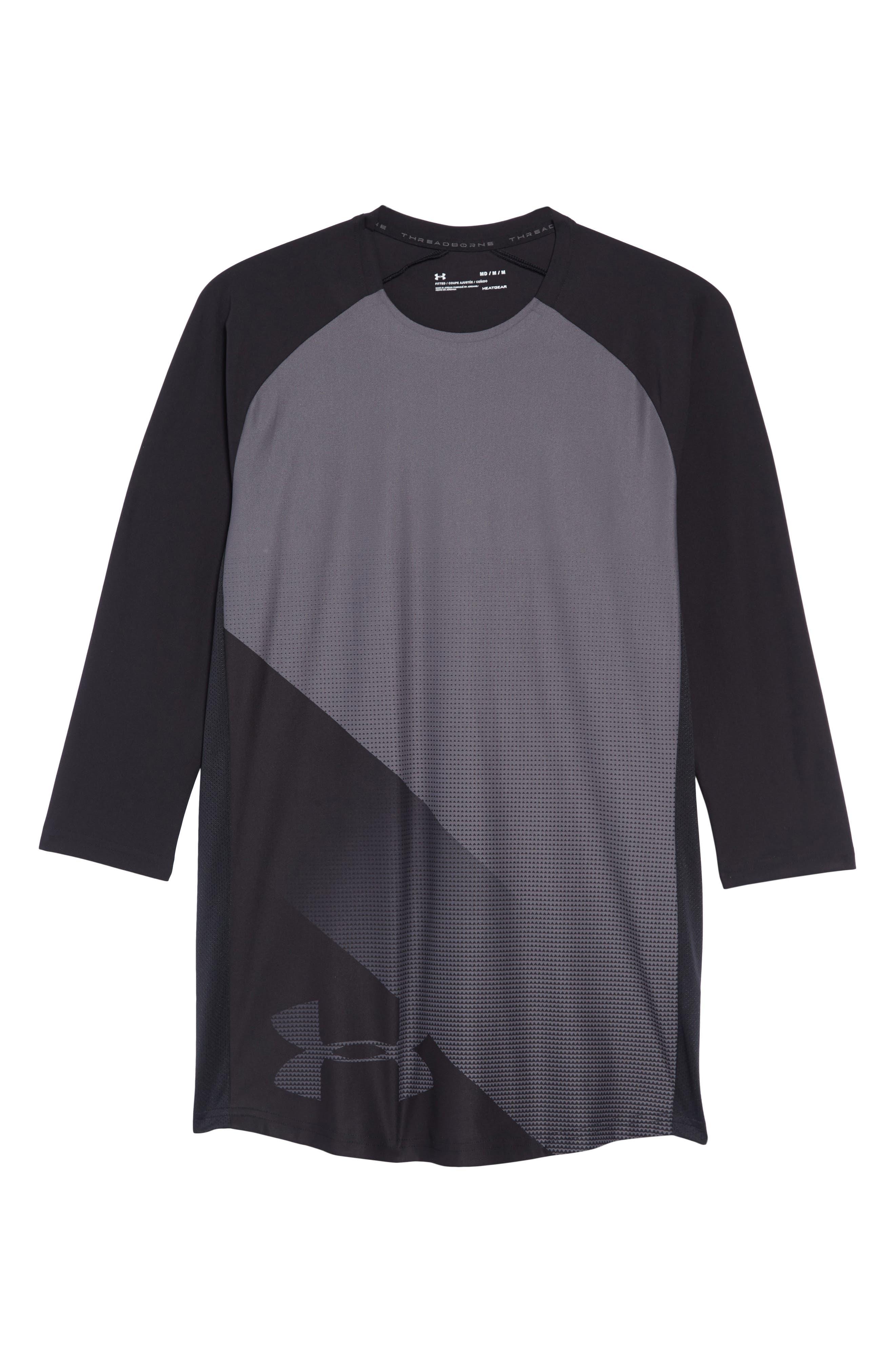 Three Quarter Sleeve Print Performance T-Shirt,                             Alternate thumbnail 6, color,                             BLACK