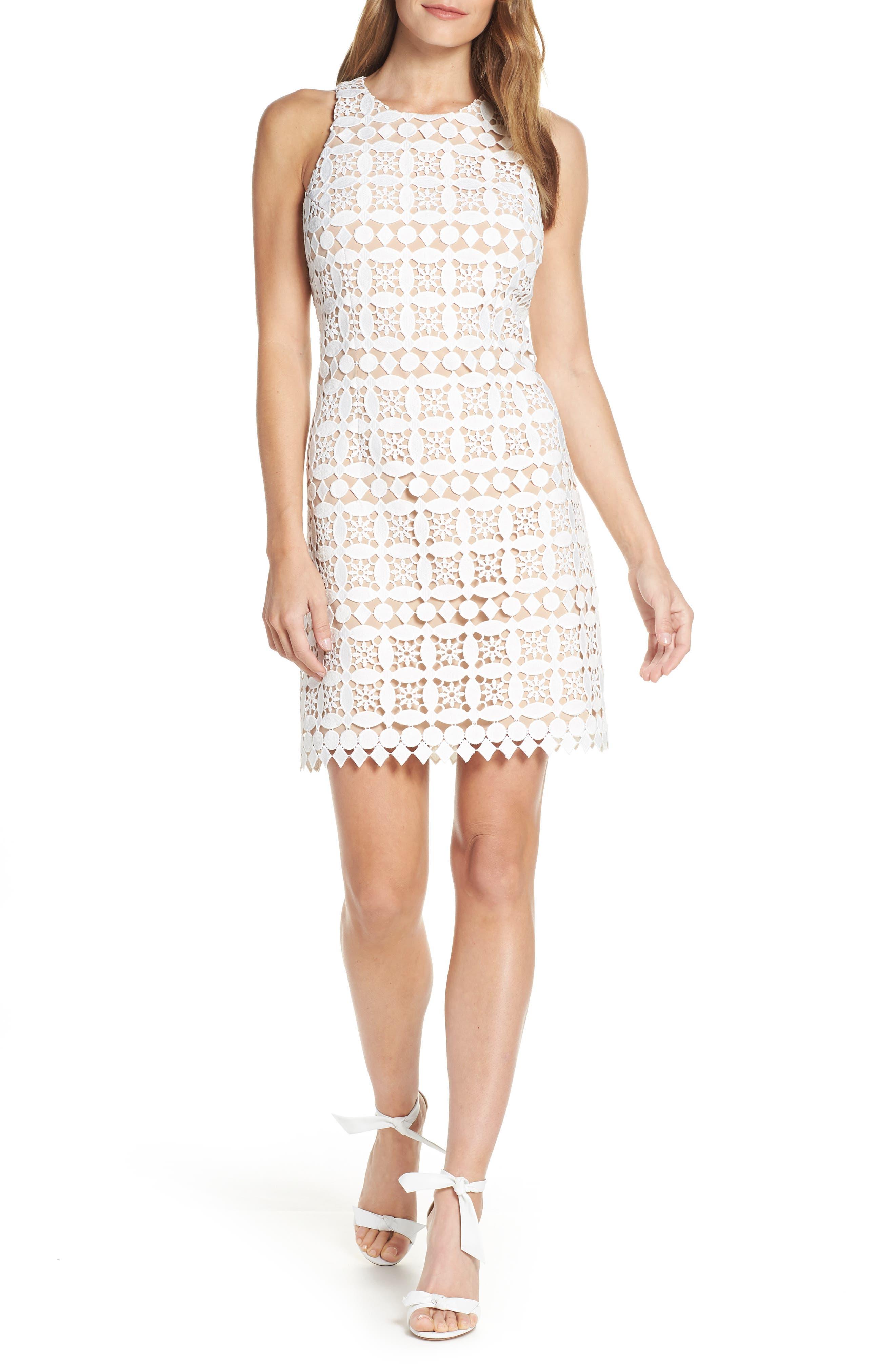 Eliza J Lace Sheath Dress, White