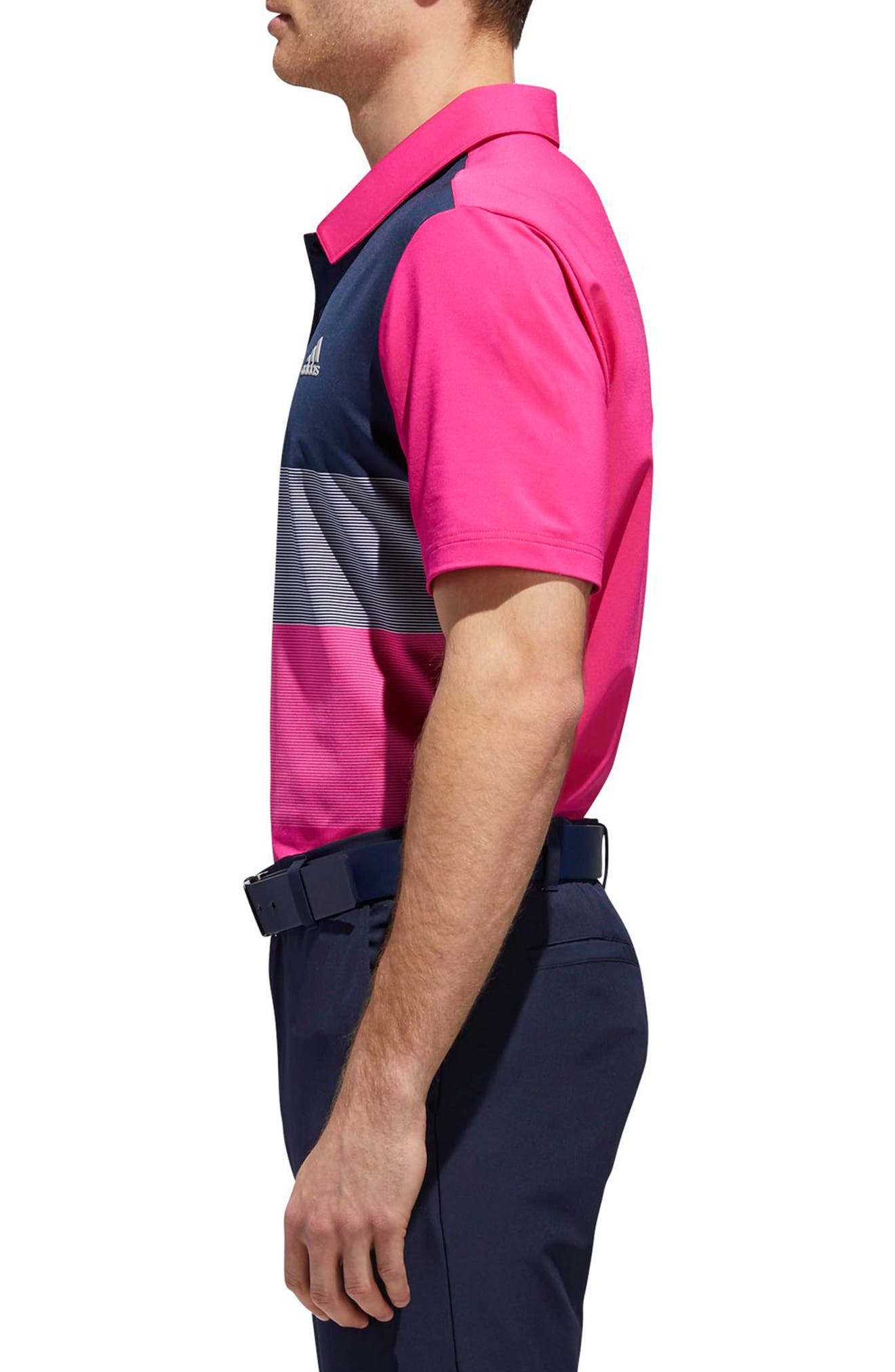 adidas Ultimate Colorblock Regular Fit Polo Shirt,                             Alternate thumbnail 3, color,                             677