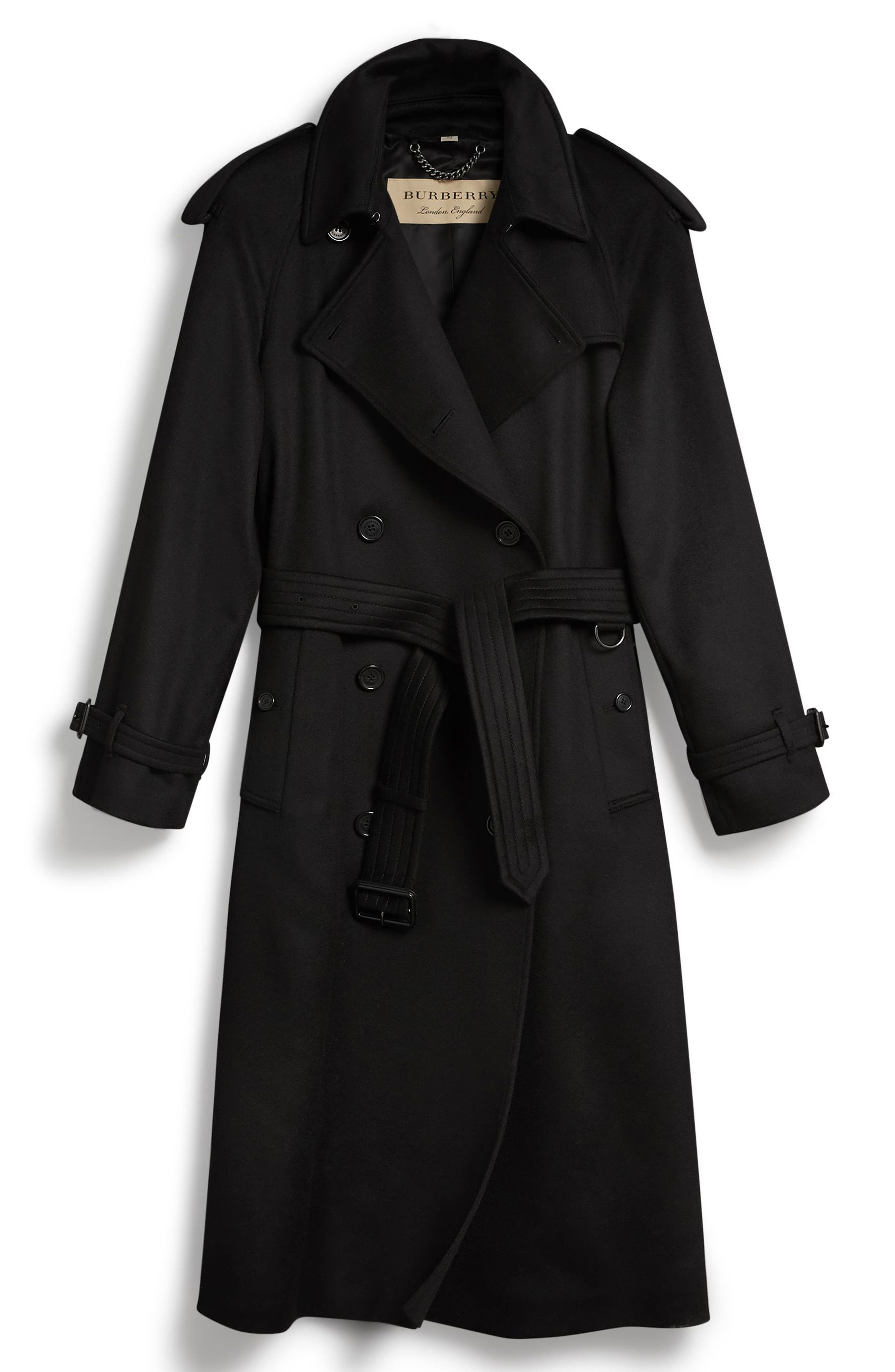 Eastheath Cashmere Trench Coat,                             Alternate thumbnail 6, color,                             BLACK