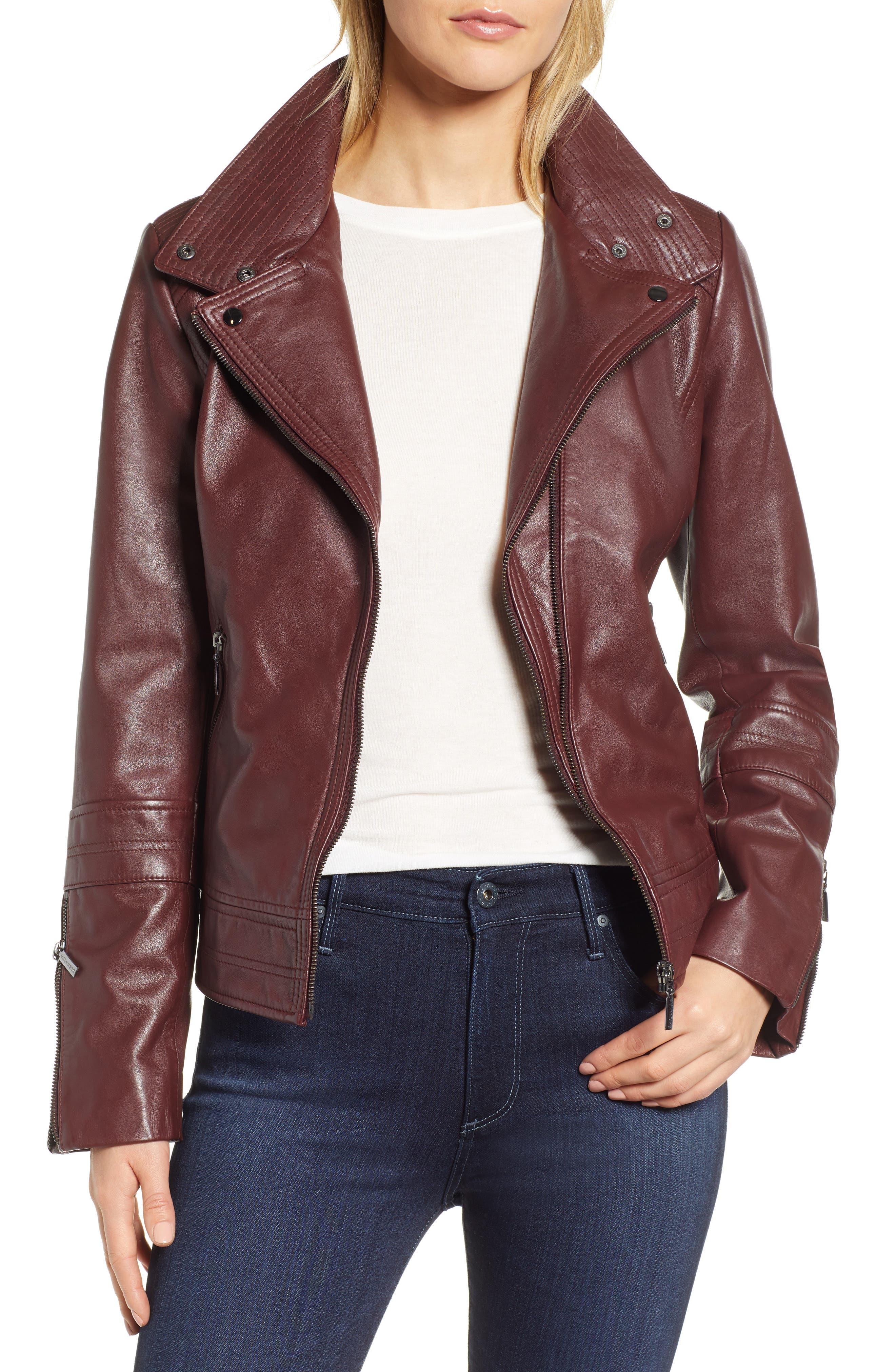 BERNARDO Leather Moto Jacket in Deep Burgundy