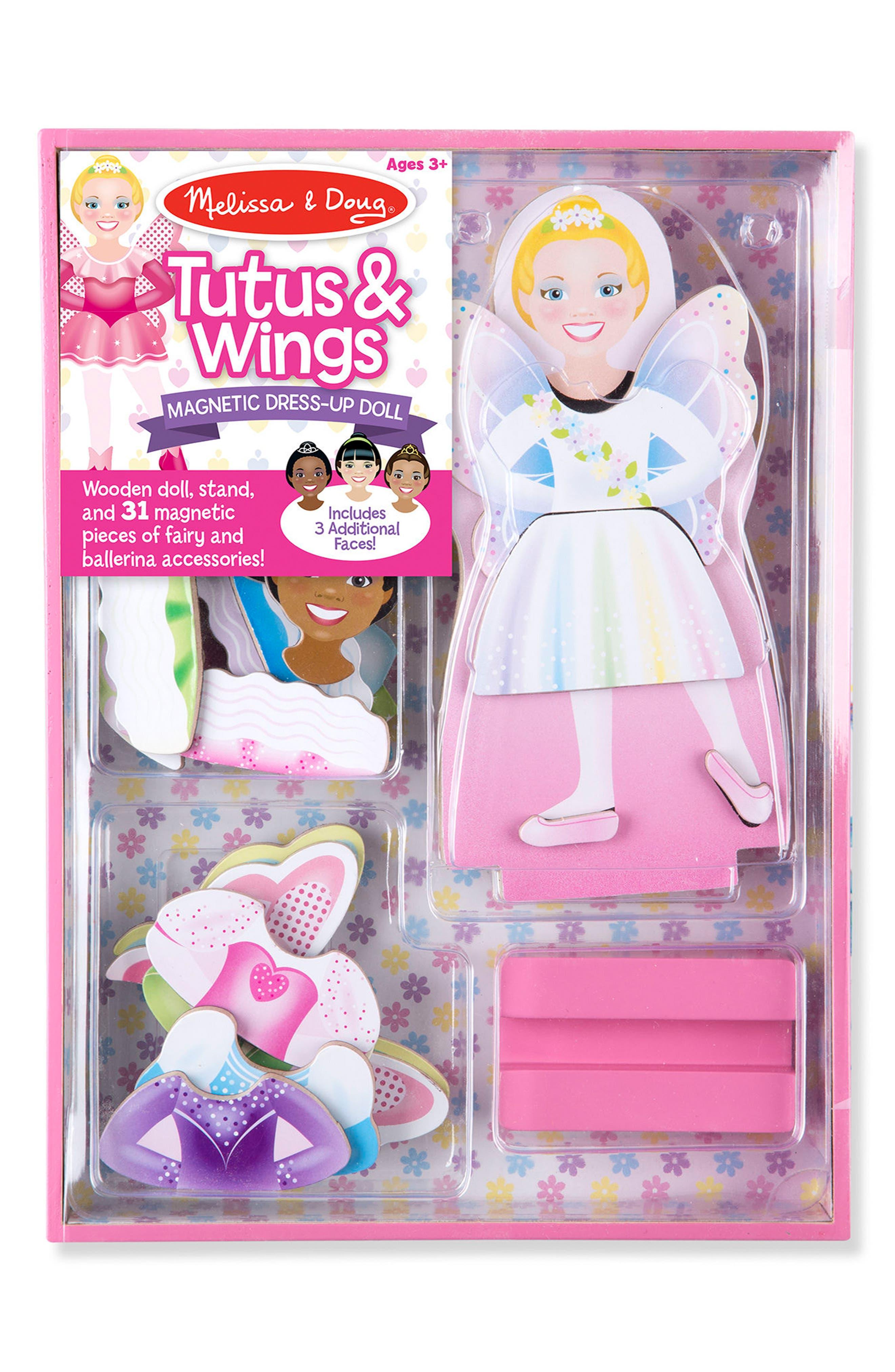 MELISSA & DOUG,                             33-Piece Tutus & Wings Magnetic Dress-Up Doll,                             Main thumbnail 1, color,                             650