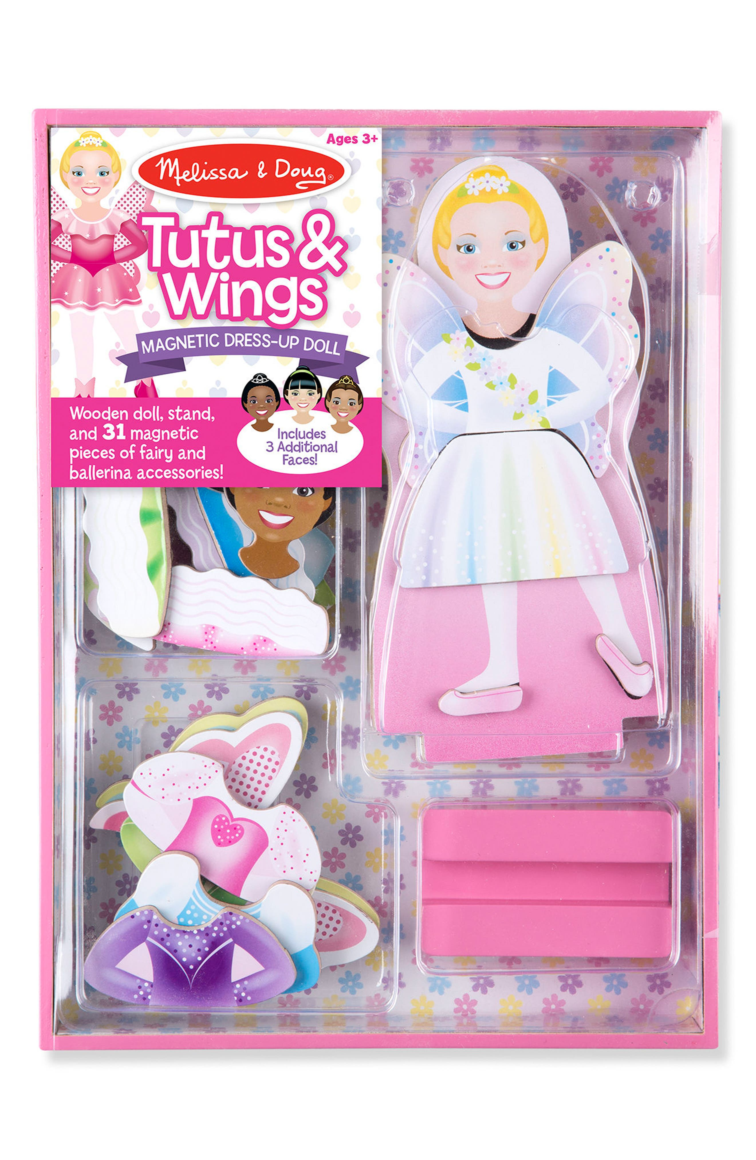 MELISSA & DOUG 33-Piece Tutus & Wings Magnetic Dress-Up Doll, Main, color, 650