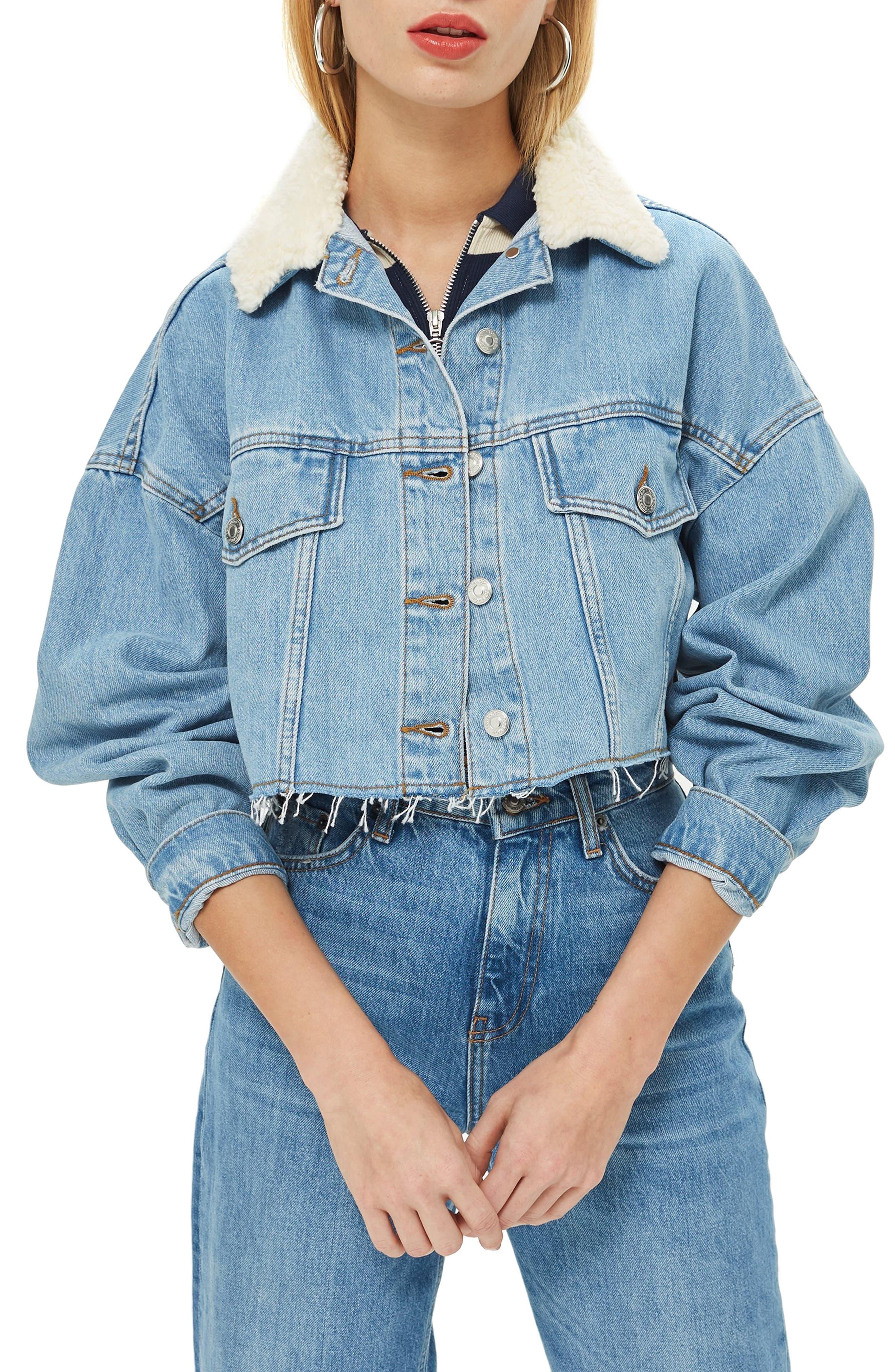 Borg Faux Fur Collar Hacked Denim Jacket, Main, color, 420
