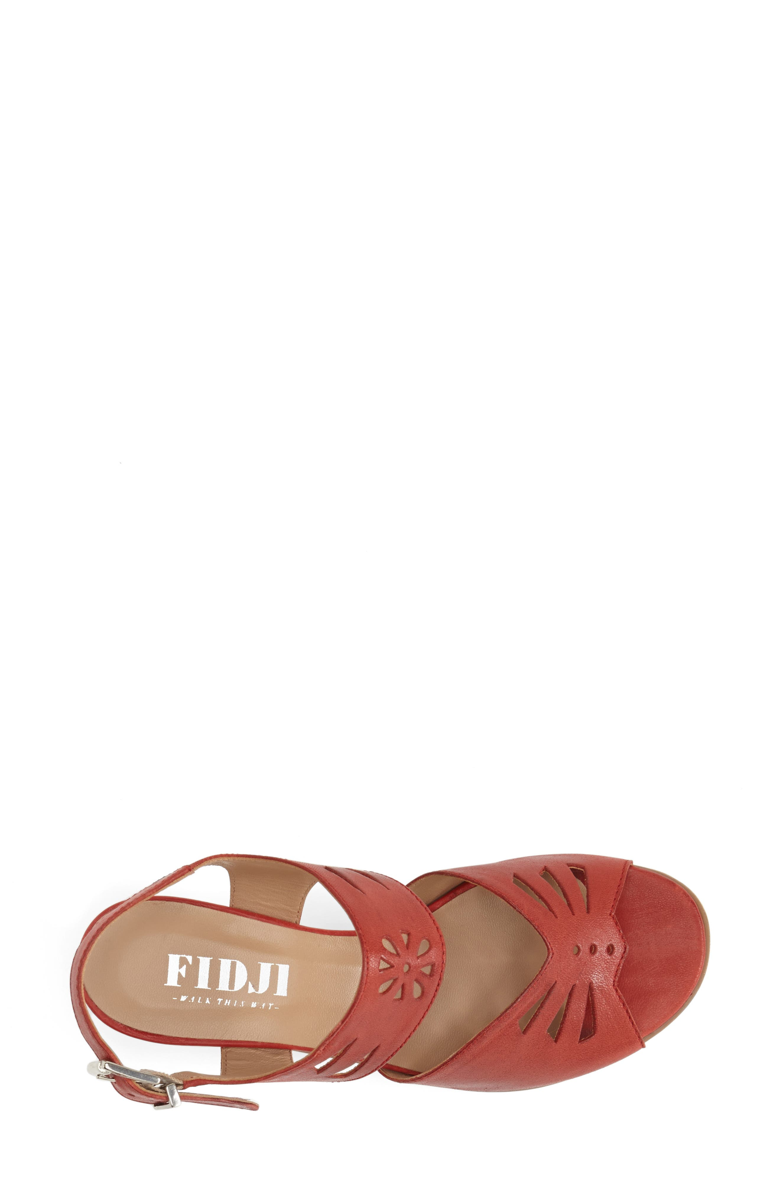 'V112' Perforated Leather Sandal,                             Alternate thumbnail 2, color,                             RED