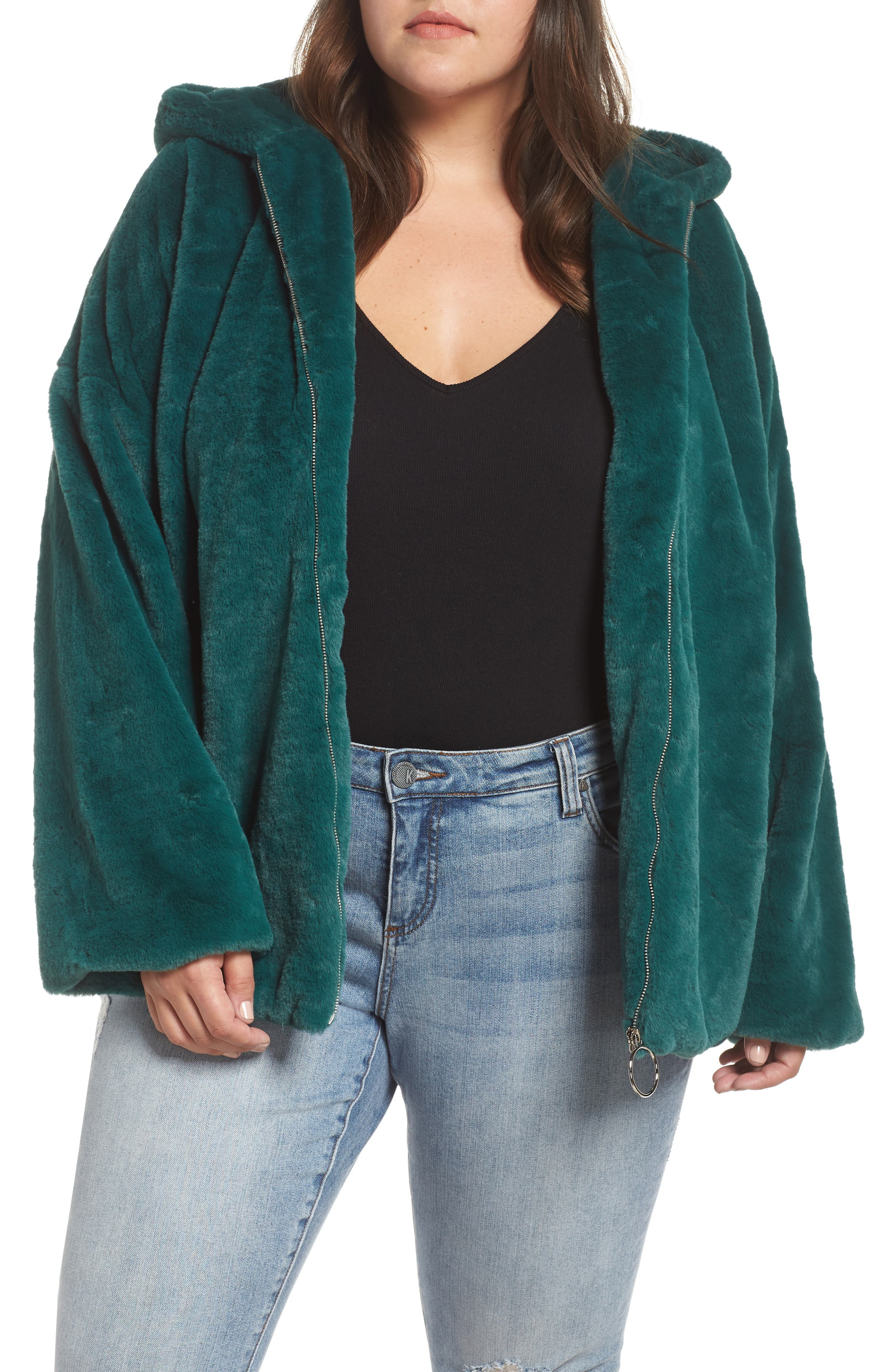 GLAMOROUS Faux Fur Zip Front Hooded Jacket in Green