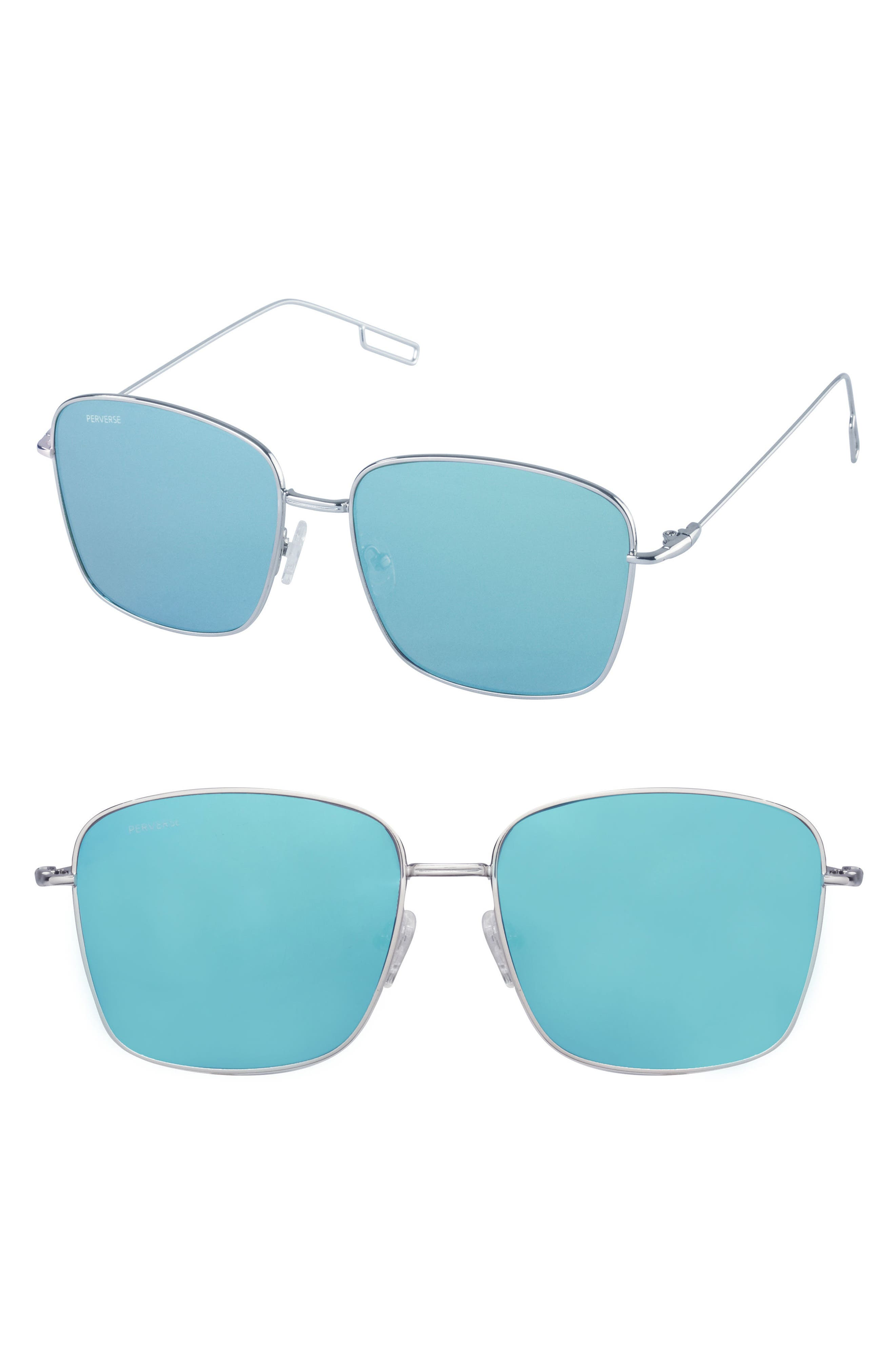 Emily 58mm Mirrored Square Sunglasses,                             Main thumbnail 1, color,                             400