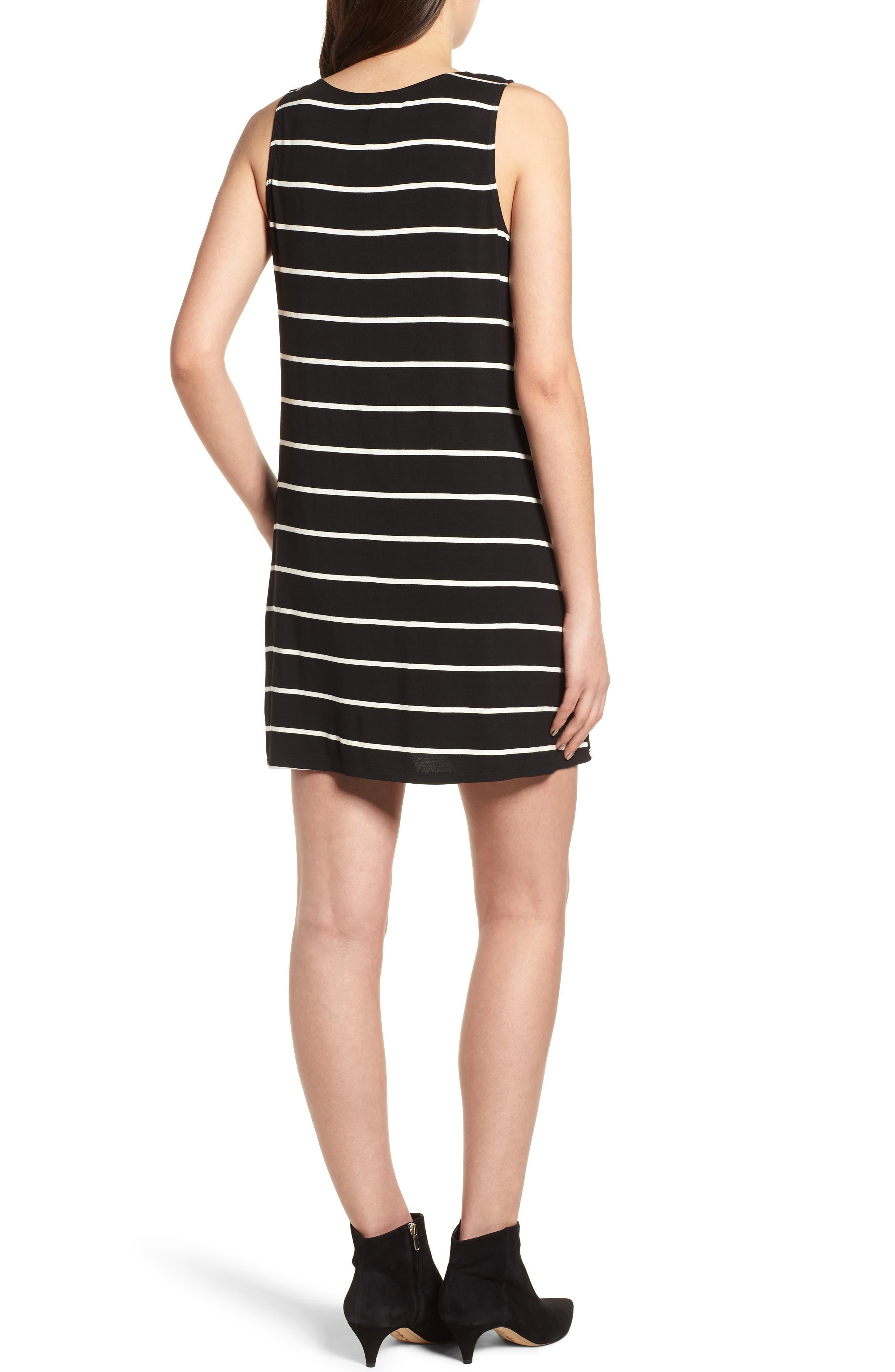 Pocket Tank Dress,                             Alternate thumbnail 2, color,                             BLACK/ WHITE STRIPE