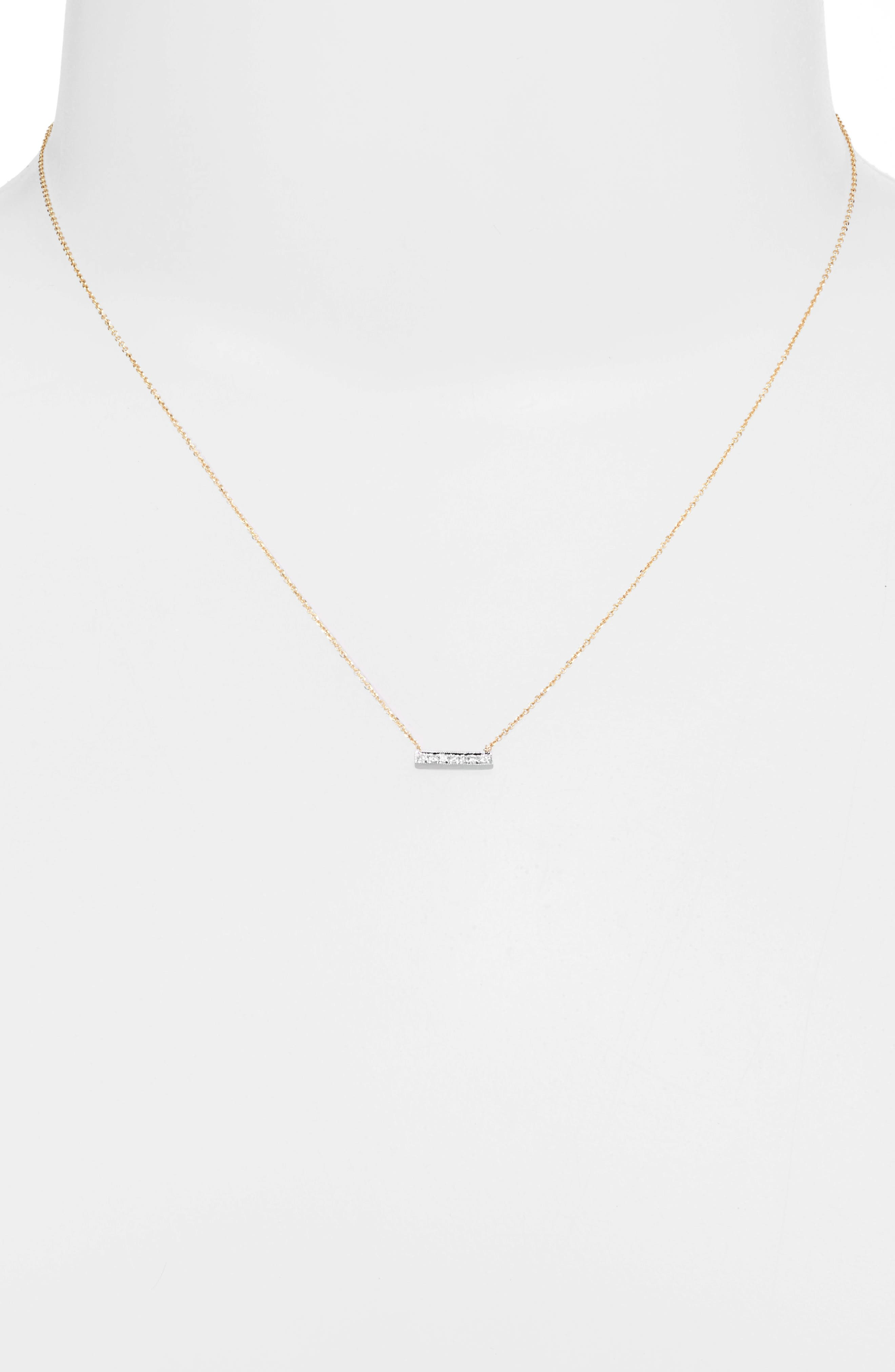 'Sylvie Rose' Diamond Bar Pendant Necklace,                             Alternate thumbnail 4, color,                             YELLOW GOLD