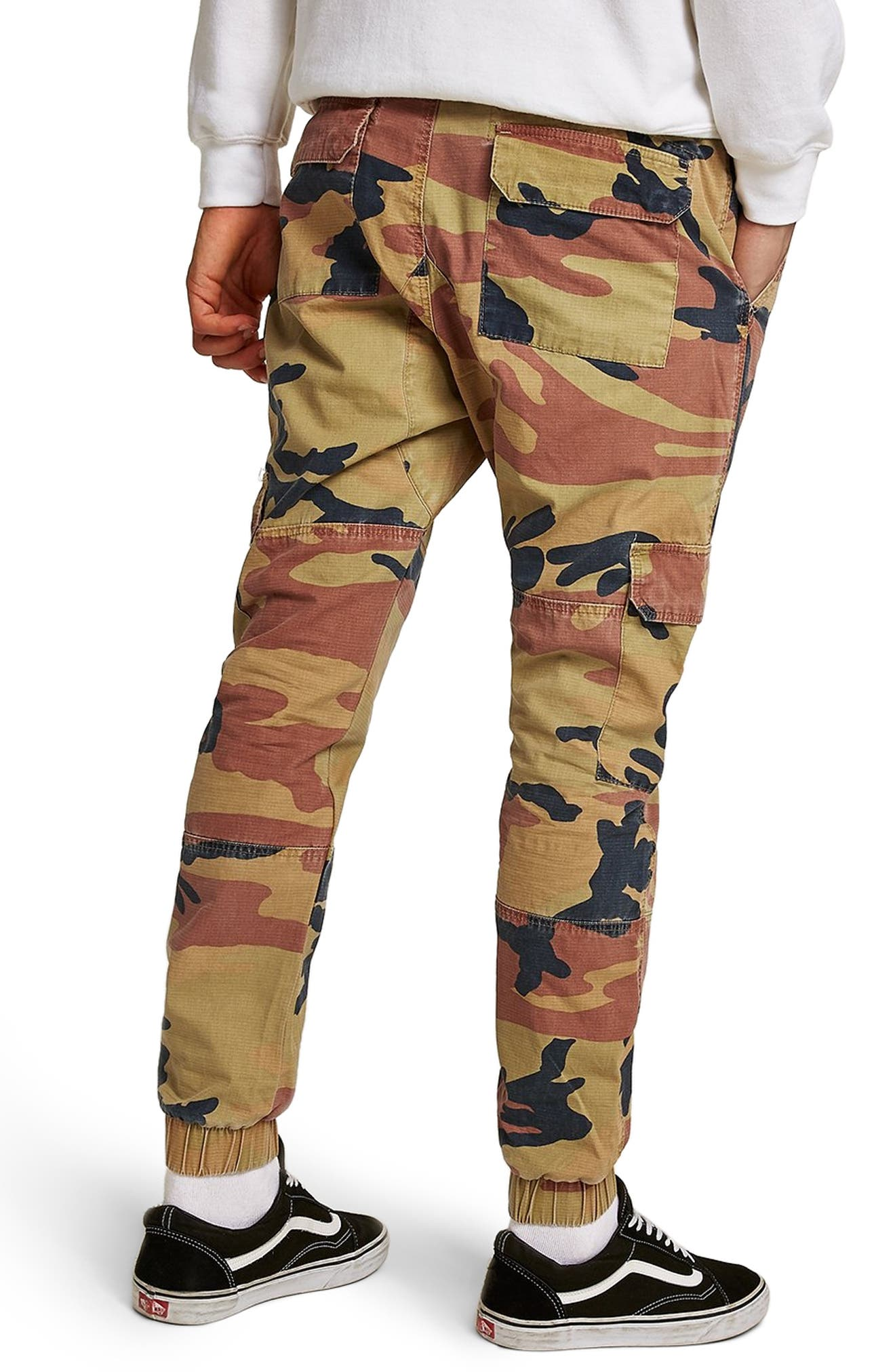 Camouflage Skinny Cargo Trousers,                             Alternate thumbnail 2, color,                             STONE