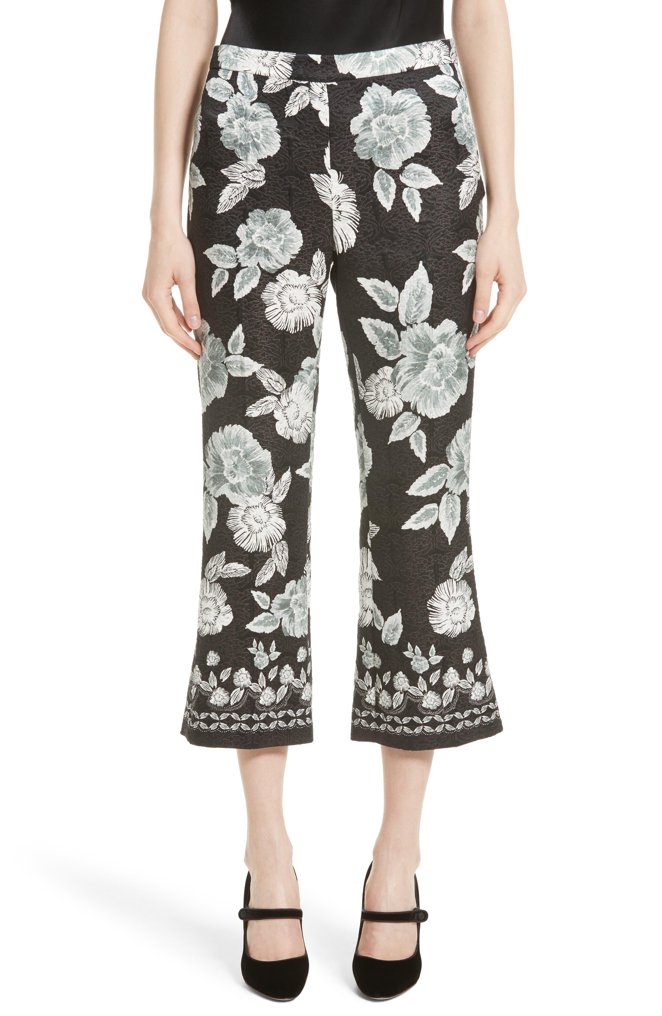 Textured Floral Print Capri Pants,                             Main thumbnail 1, color,                             001