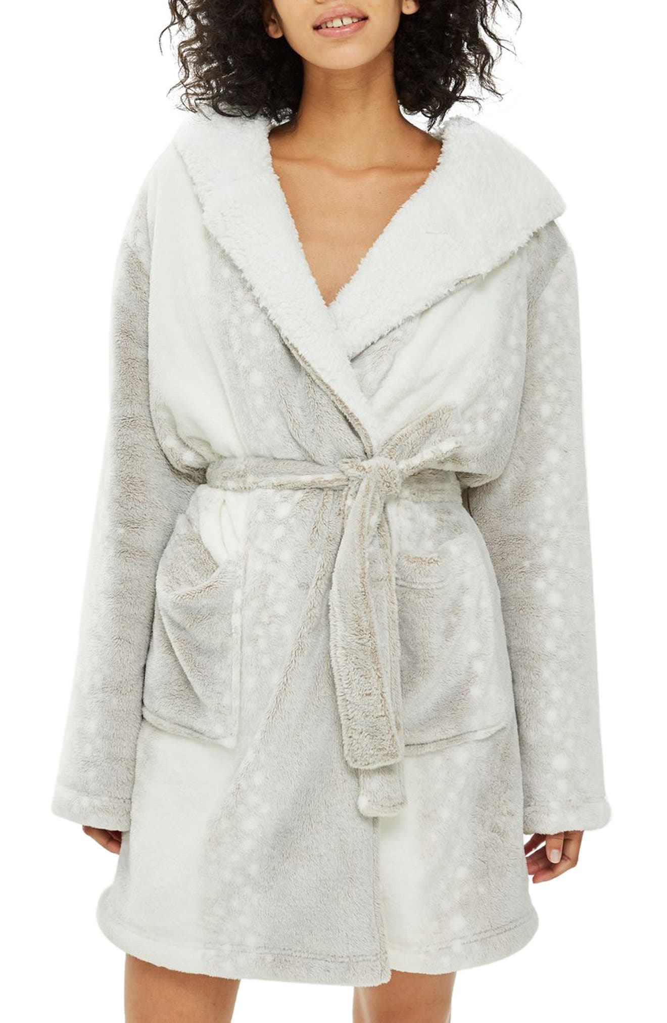 Womens Topshop Snow Leopard Print Fleece Hooded Short Robe, Size Small - White