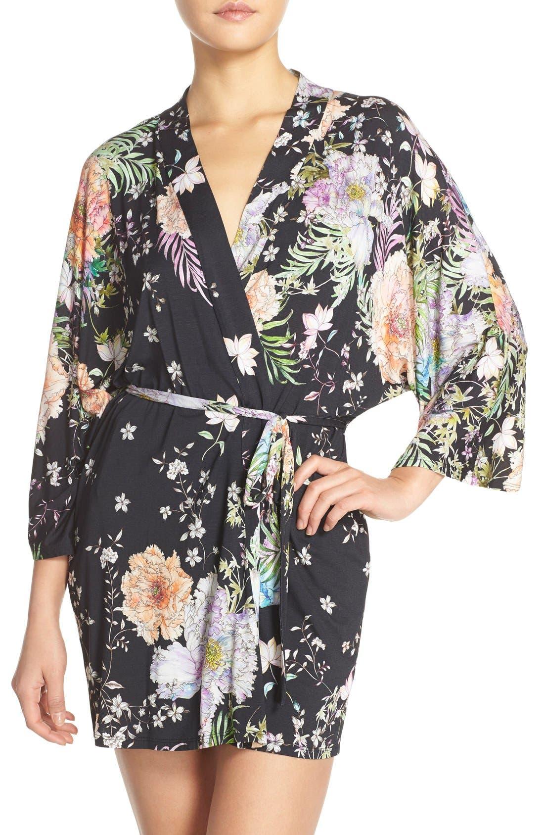 FLORA NIKROOZ 'Magnolia' Knit Short Robe, Main, color, 001