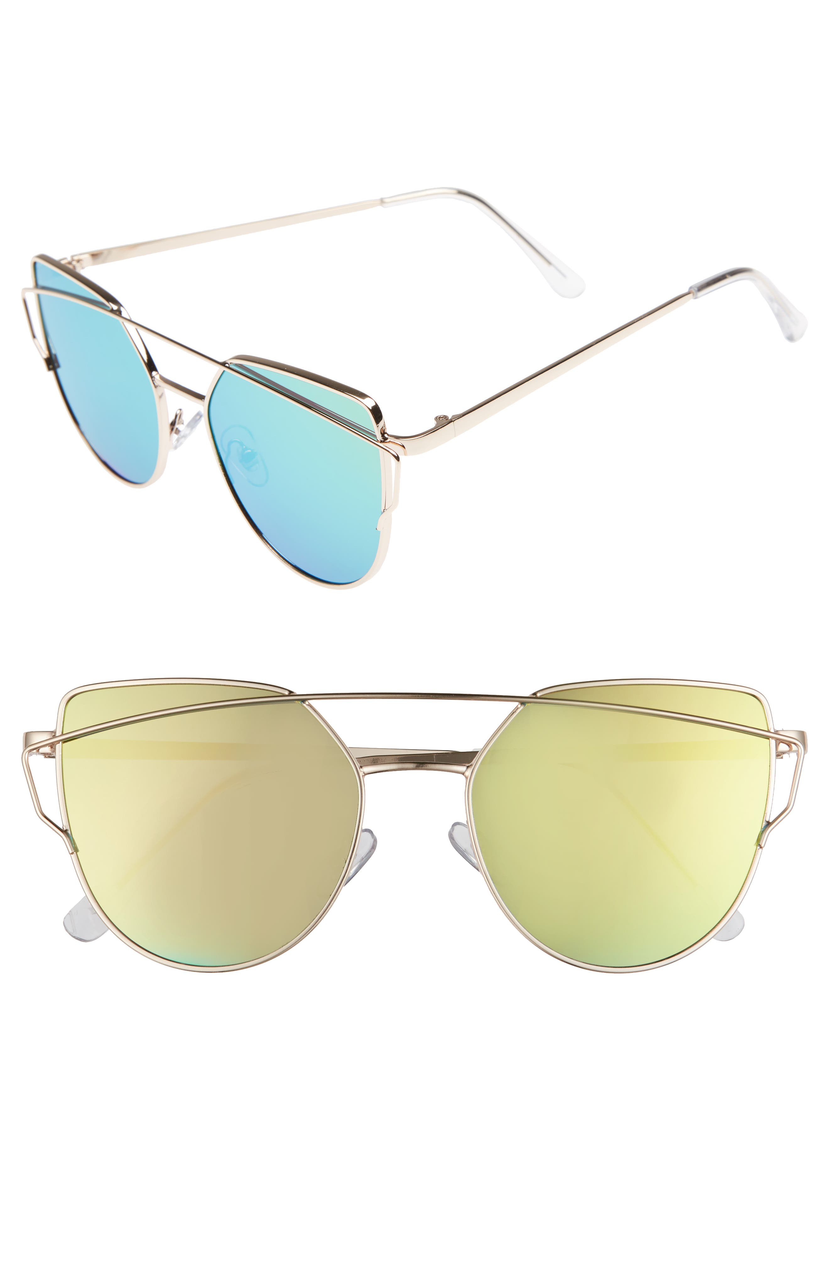 51mm Thin Brow Angular Aviator Sunglasses,                             Main thumbnail 6, color,