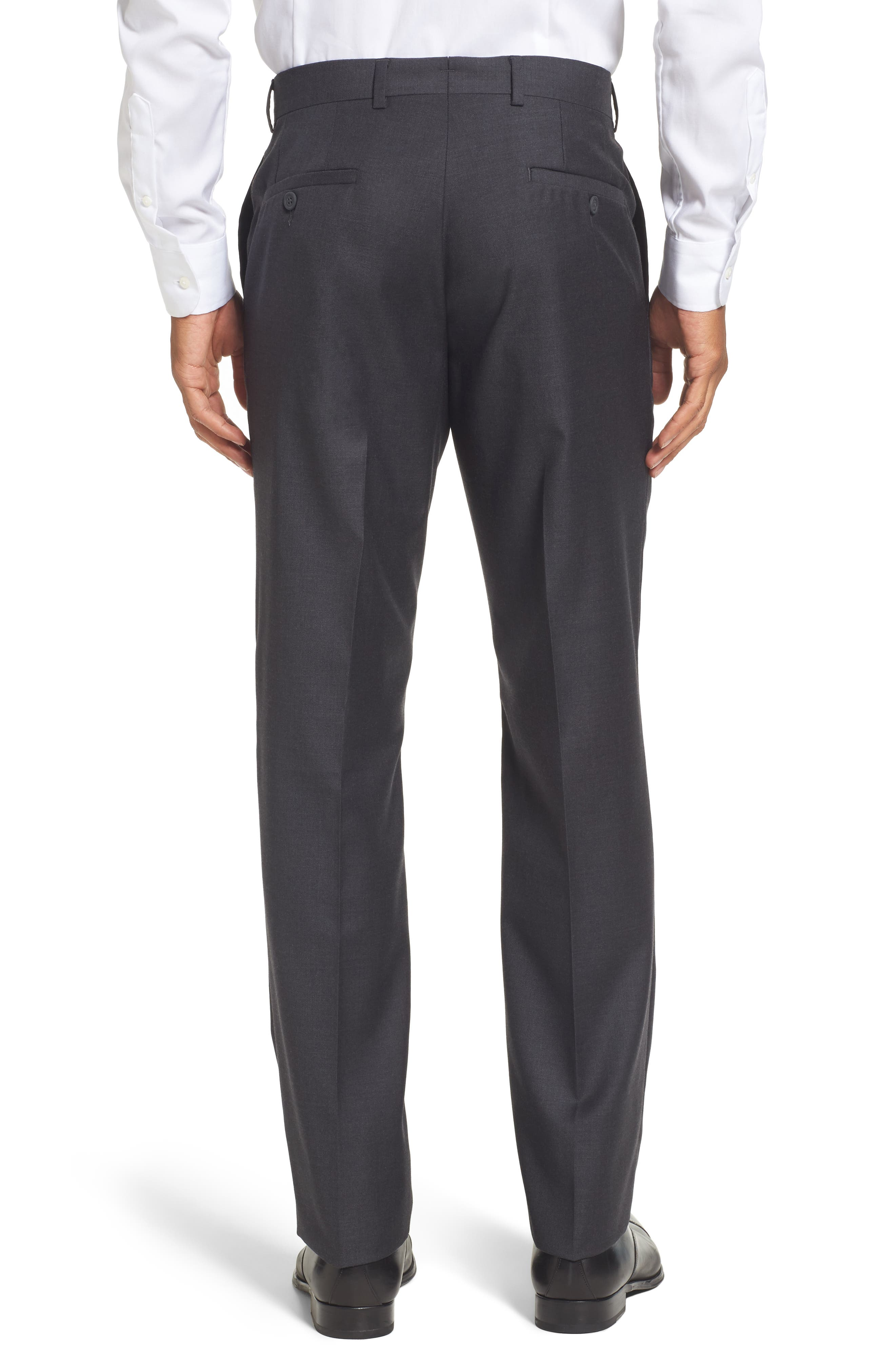 Flat Front Solid Wool Trousers,                             Alternate thumbnail 15, color,