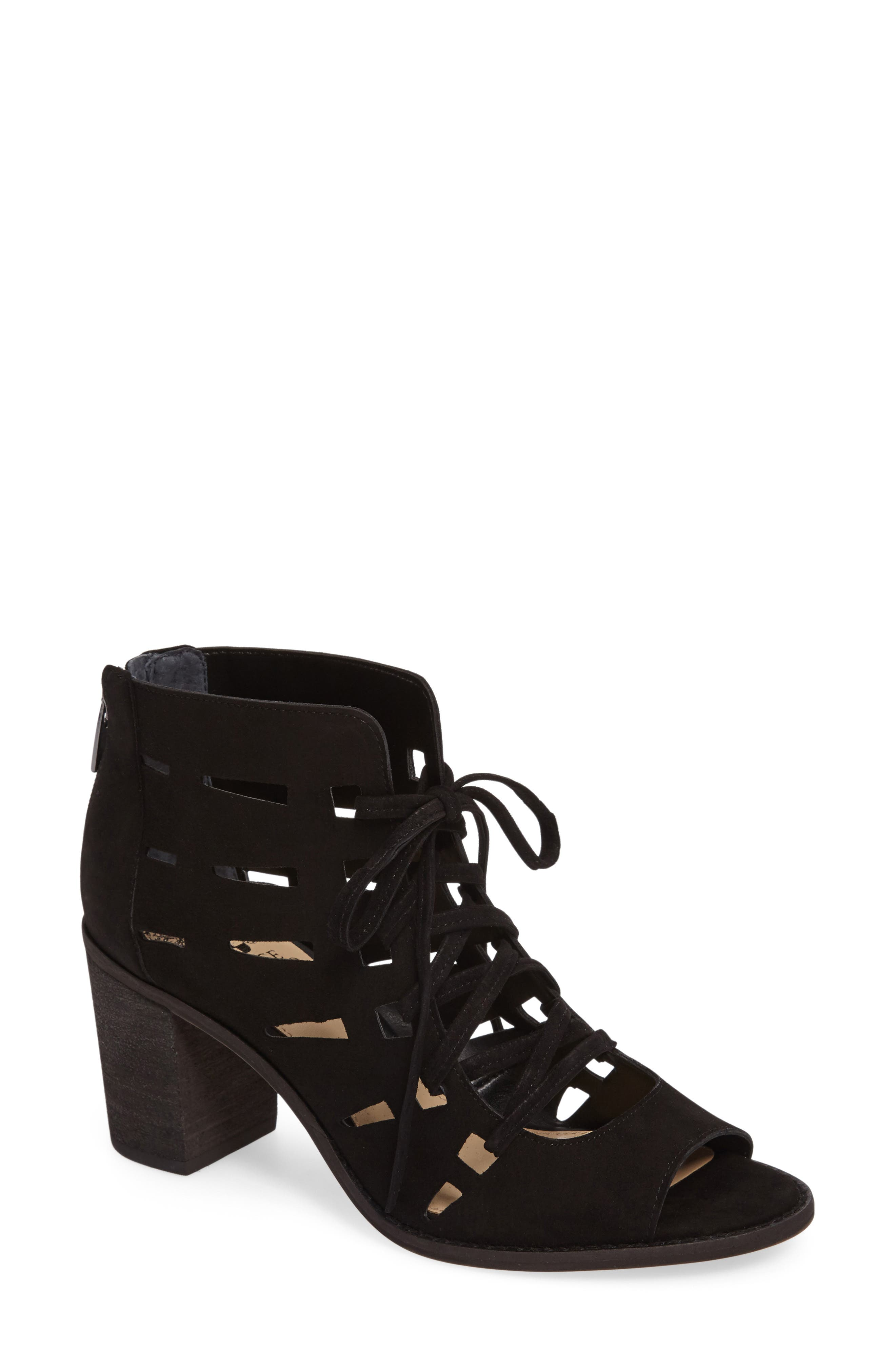 VINCE CAMUTO,                             Tressa Perforated Lace-Up Sandal,                             Main thumbnail 1, color,                             001