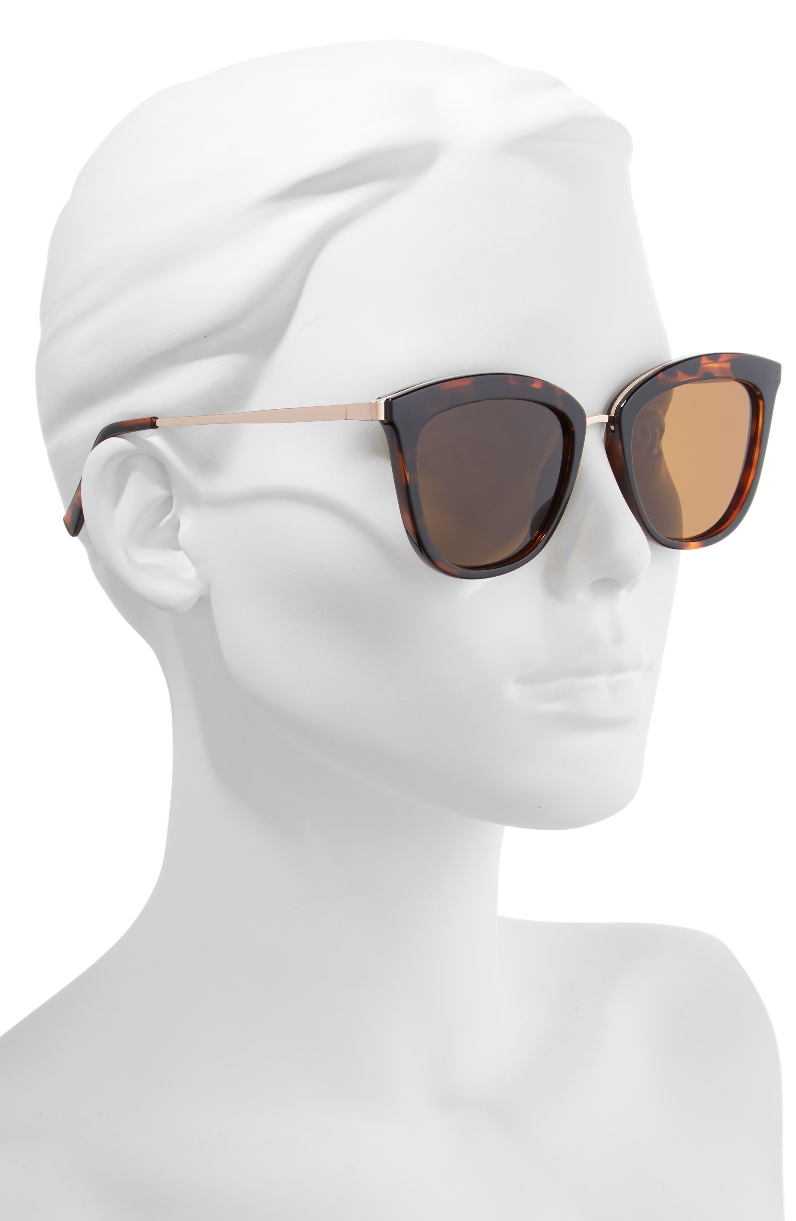 Caliente 53mm Polarized Cat Eye Sunglasses,                             Alternate thumbnail 2, color,                             TORTOISE / ROSE GOLD