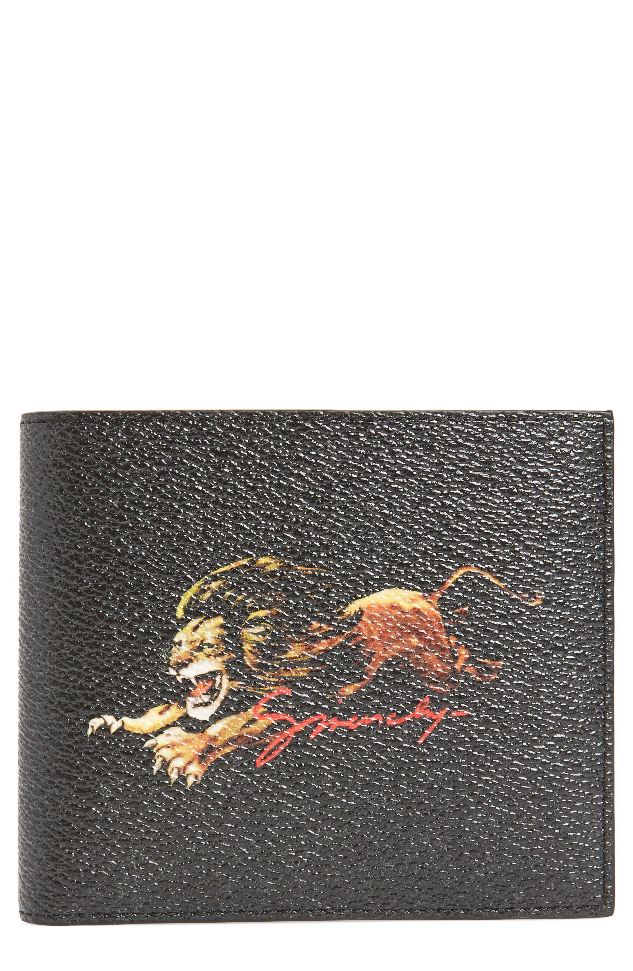 Lion Print Faux Leather Bifold Wallet,                         Main,                         color, BLACK MULTI