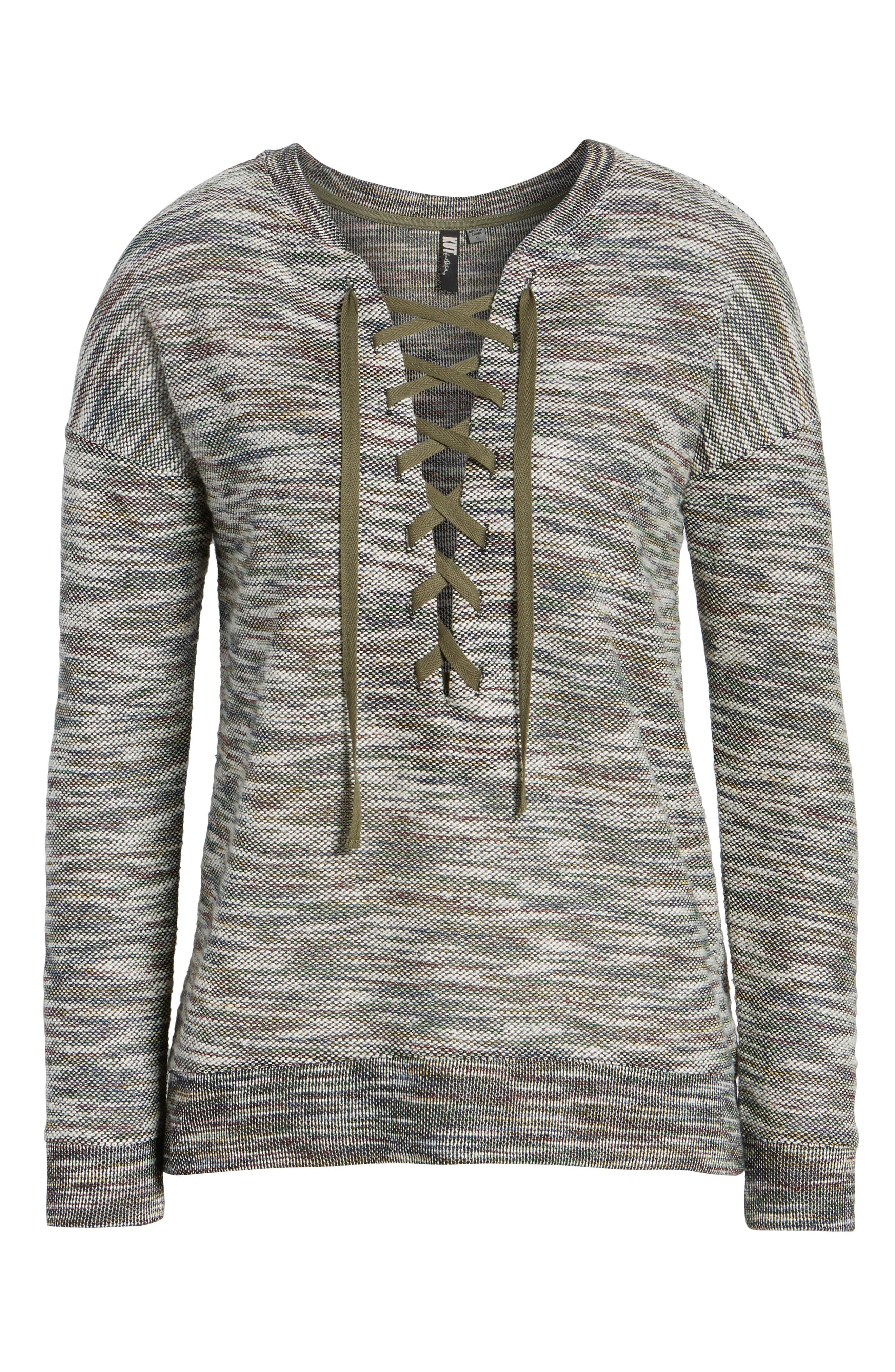 Everly Lace-Up Sweater,                             Alternate thumbnail 6, color,                             310