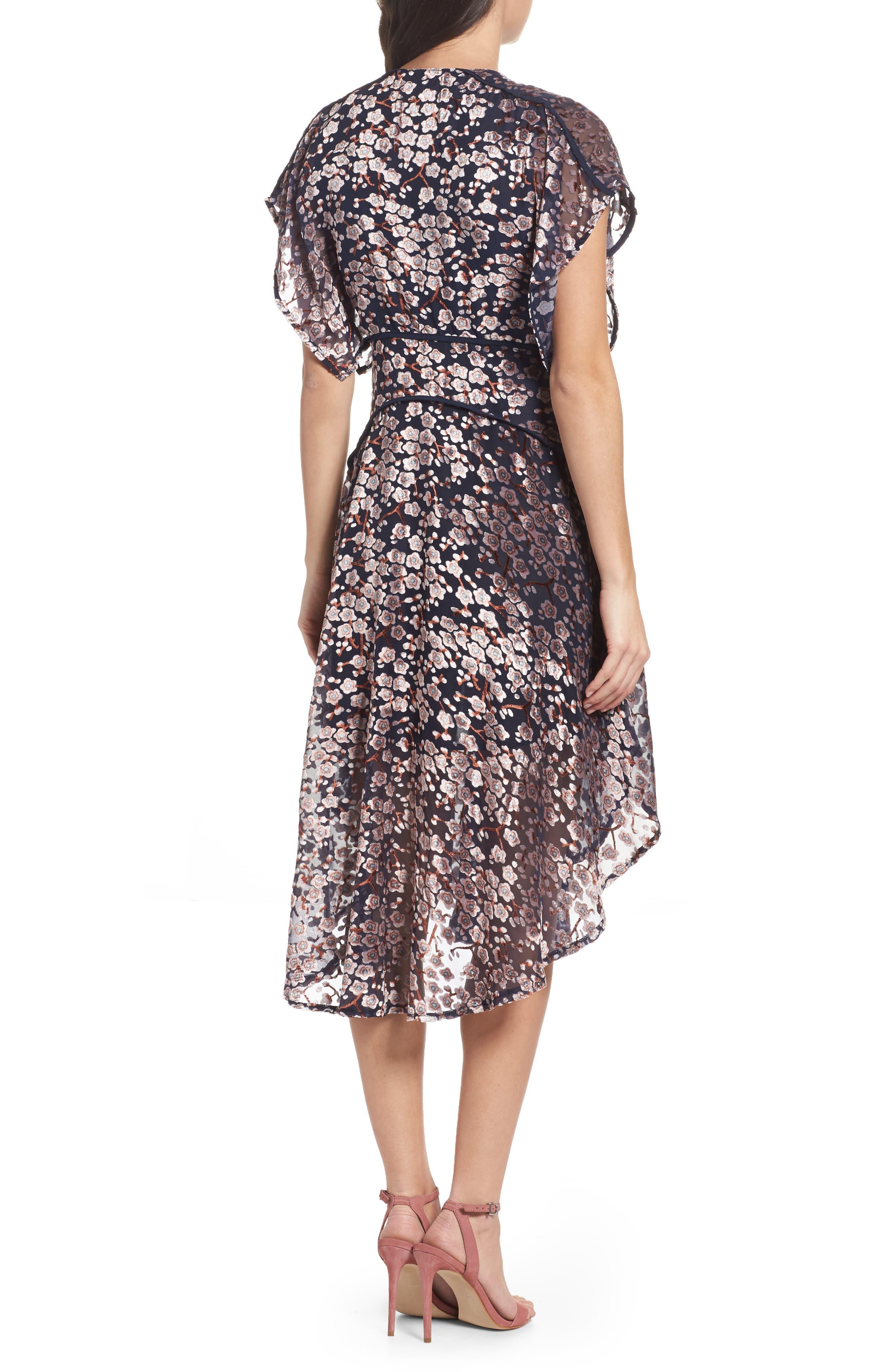Cosimia Burnout Velvet Midi Dress,                             Alternate thumbnail 2, color,                             026