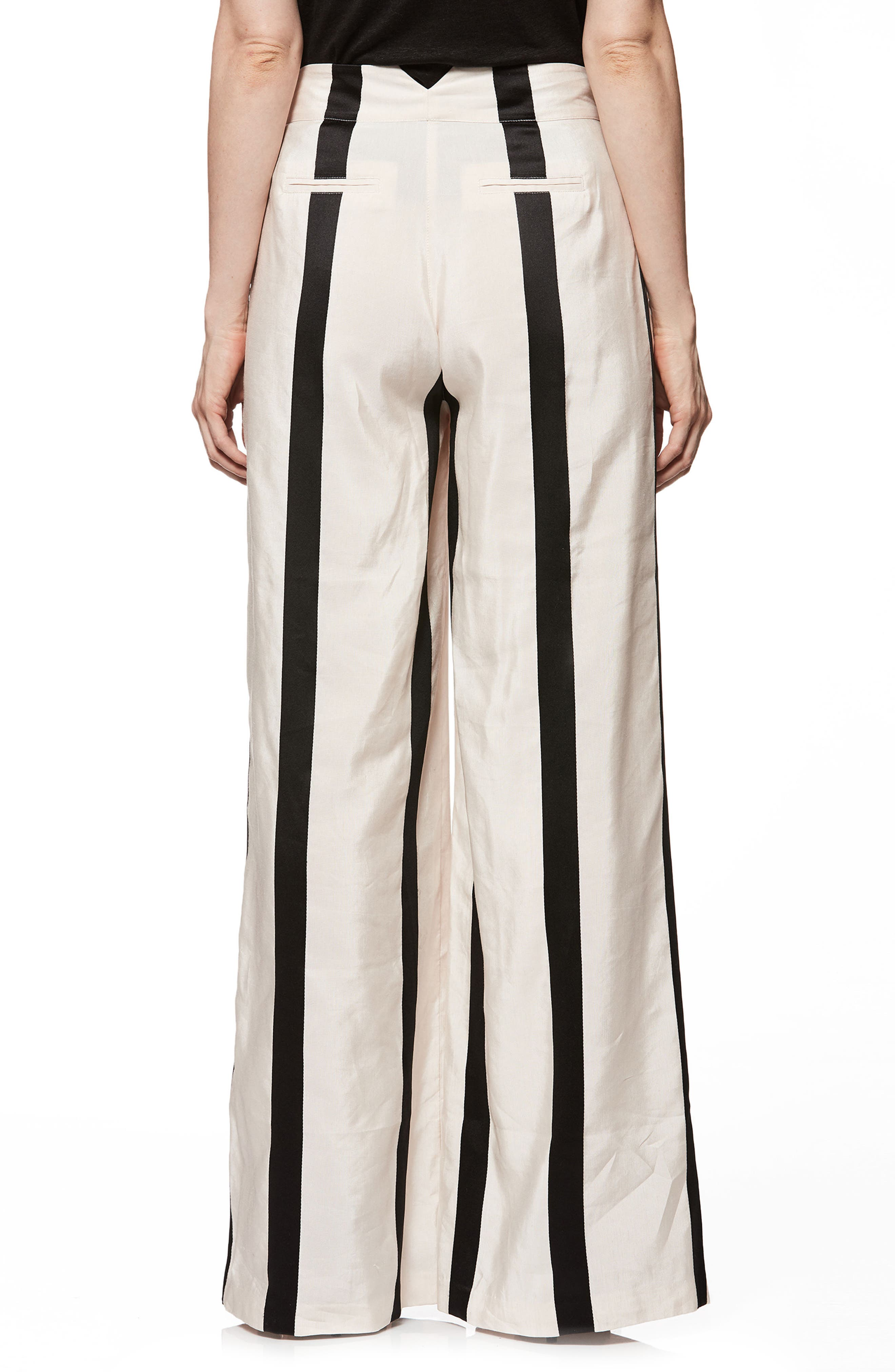 Capucine High Waist Wide Leg Pants,                             Alternate thumbnail 2, color,                             BLUSH WITH BLACK