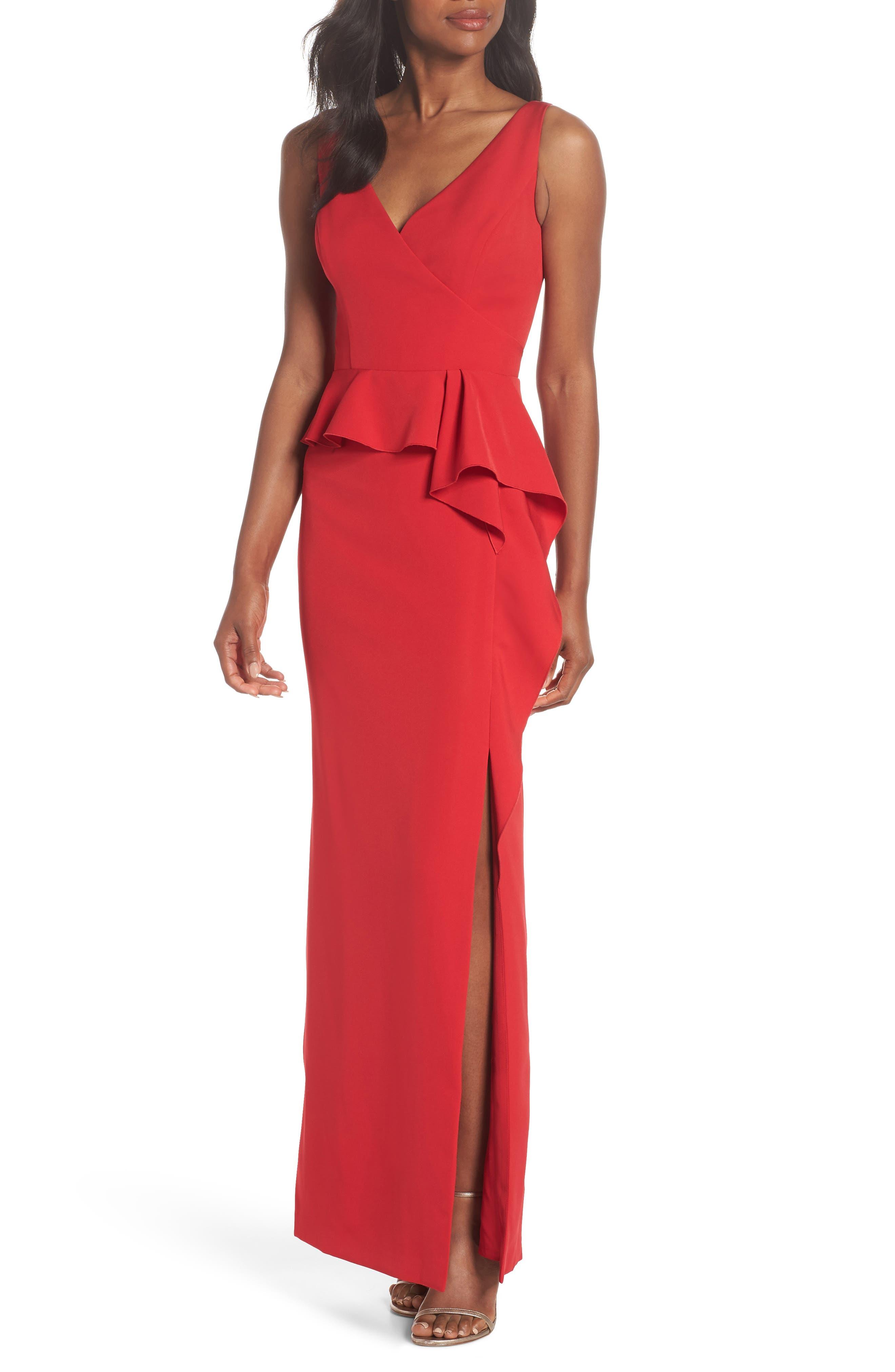 Laguna Faux Wrap Gown,                             Main thumbnail 1, color,                             RED