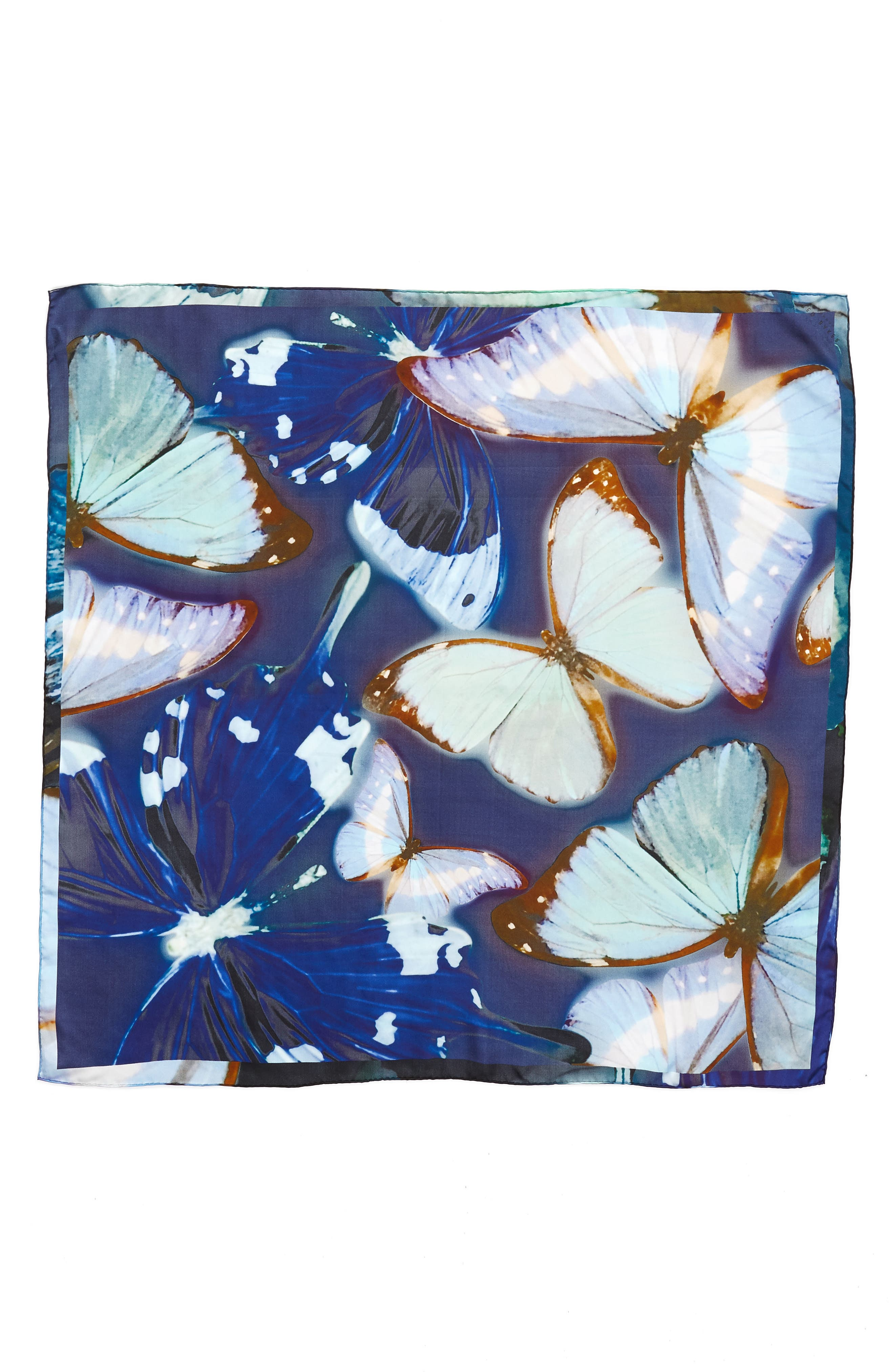 Butterfly Silk Square Scarf,                             Alternate thumbnail 3, color,                             410
