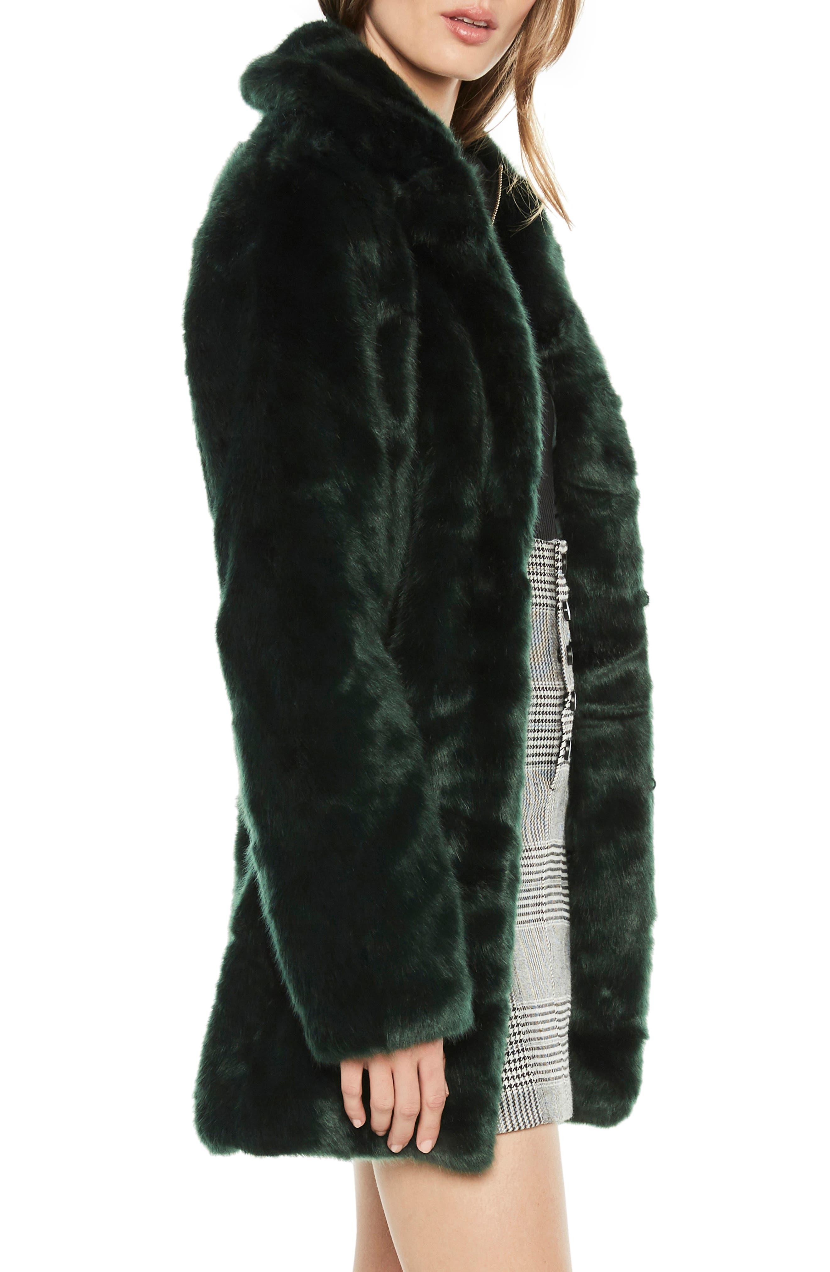 Faux Fur Coat,                             Alternate thumbnail 3, color,                             FOREST