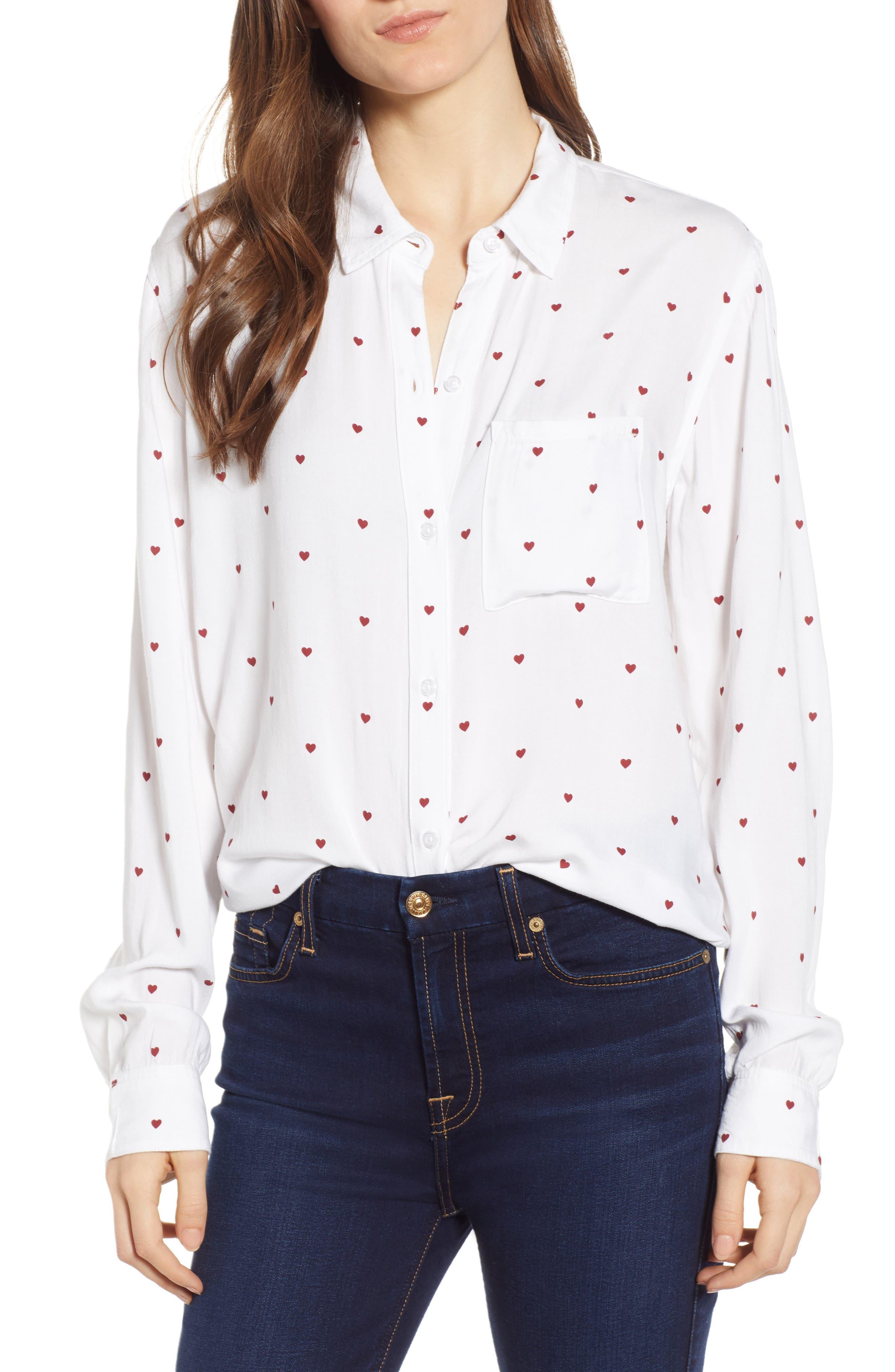 Rocsi Heart Print Shirt, Main, color, WHITE RED HEARTS