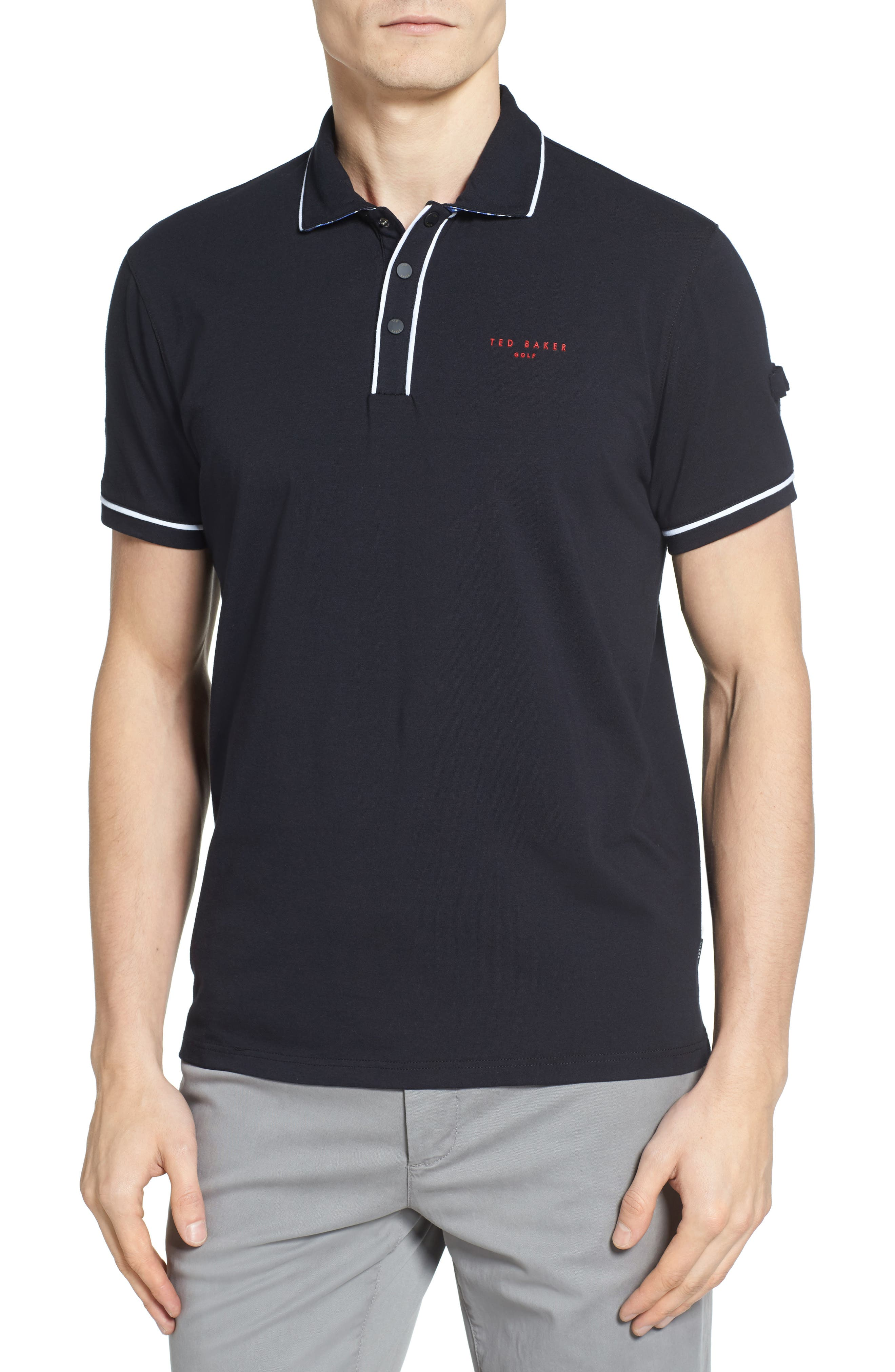 Playgo Piped Trim Golf Polo,                             Main thumbnail 1, color,                             001