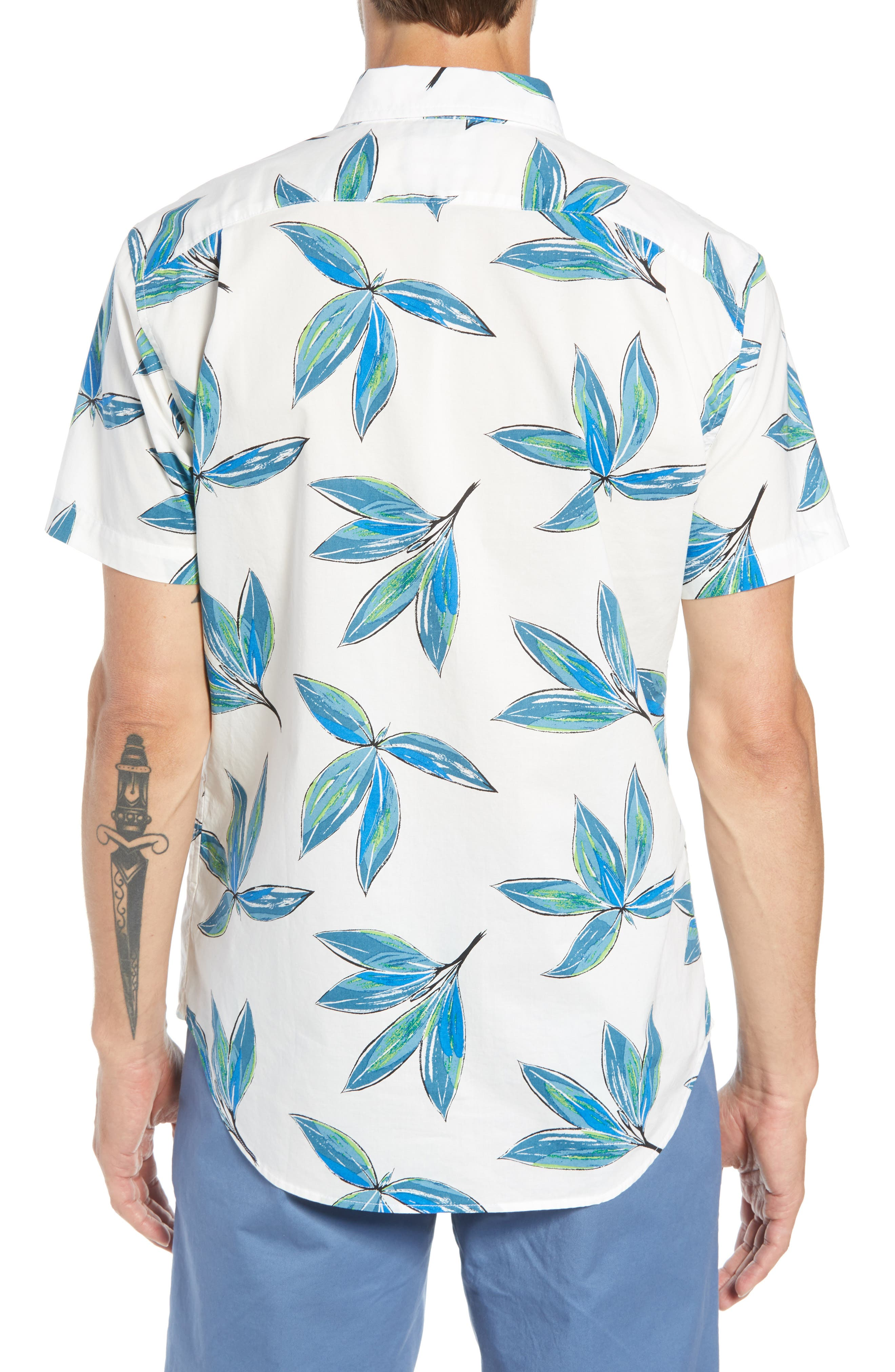 Riviera Slim Fit Leaf Print Sport Shirt,                             Alternate thumbnail 3, color,                             LEAF BUNCH