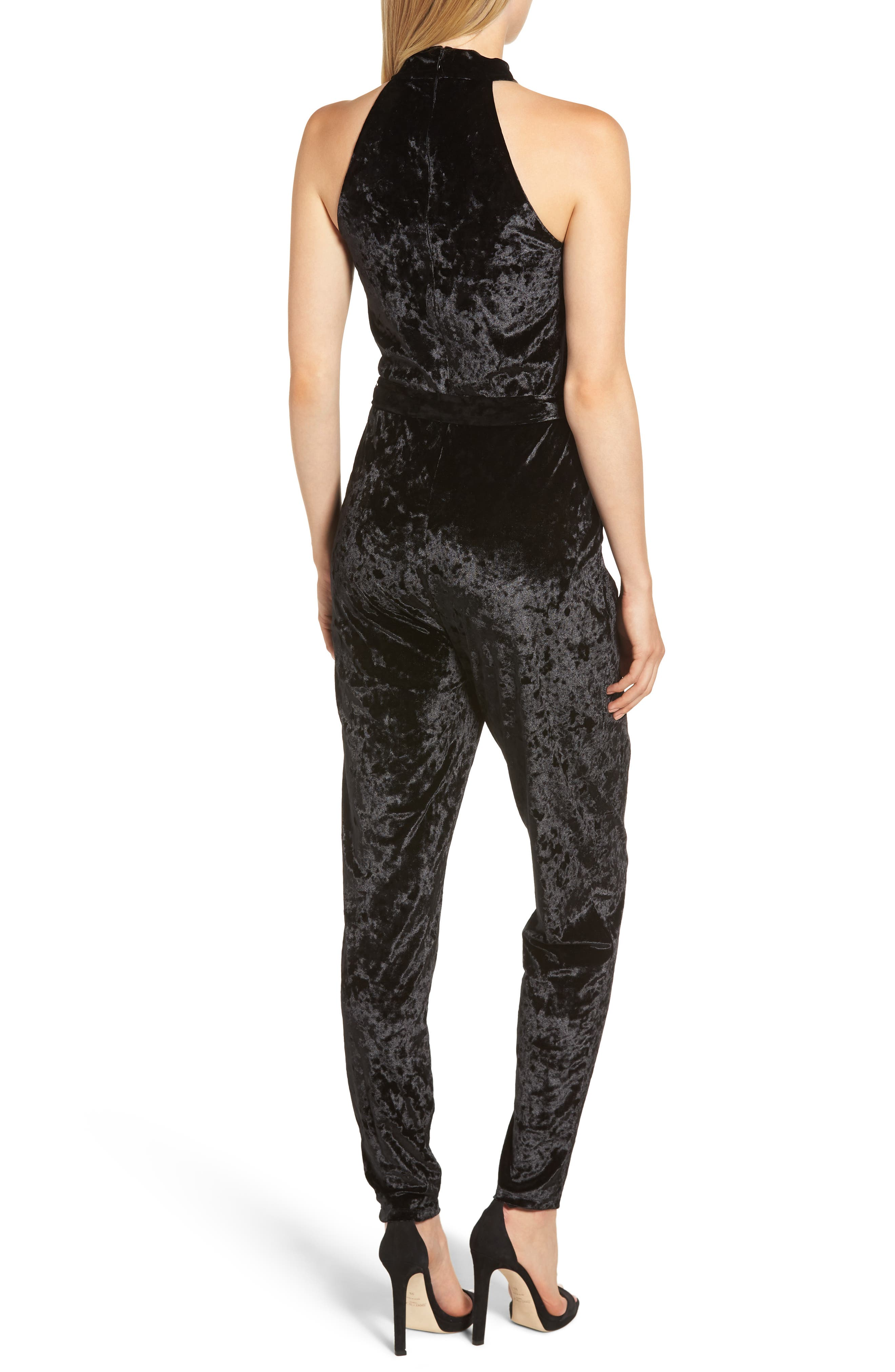 Mock Neck Velvet Jumpsuit,                             Alternate thumbnail 2, color,                             BLACK