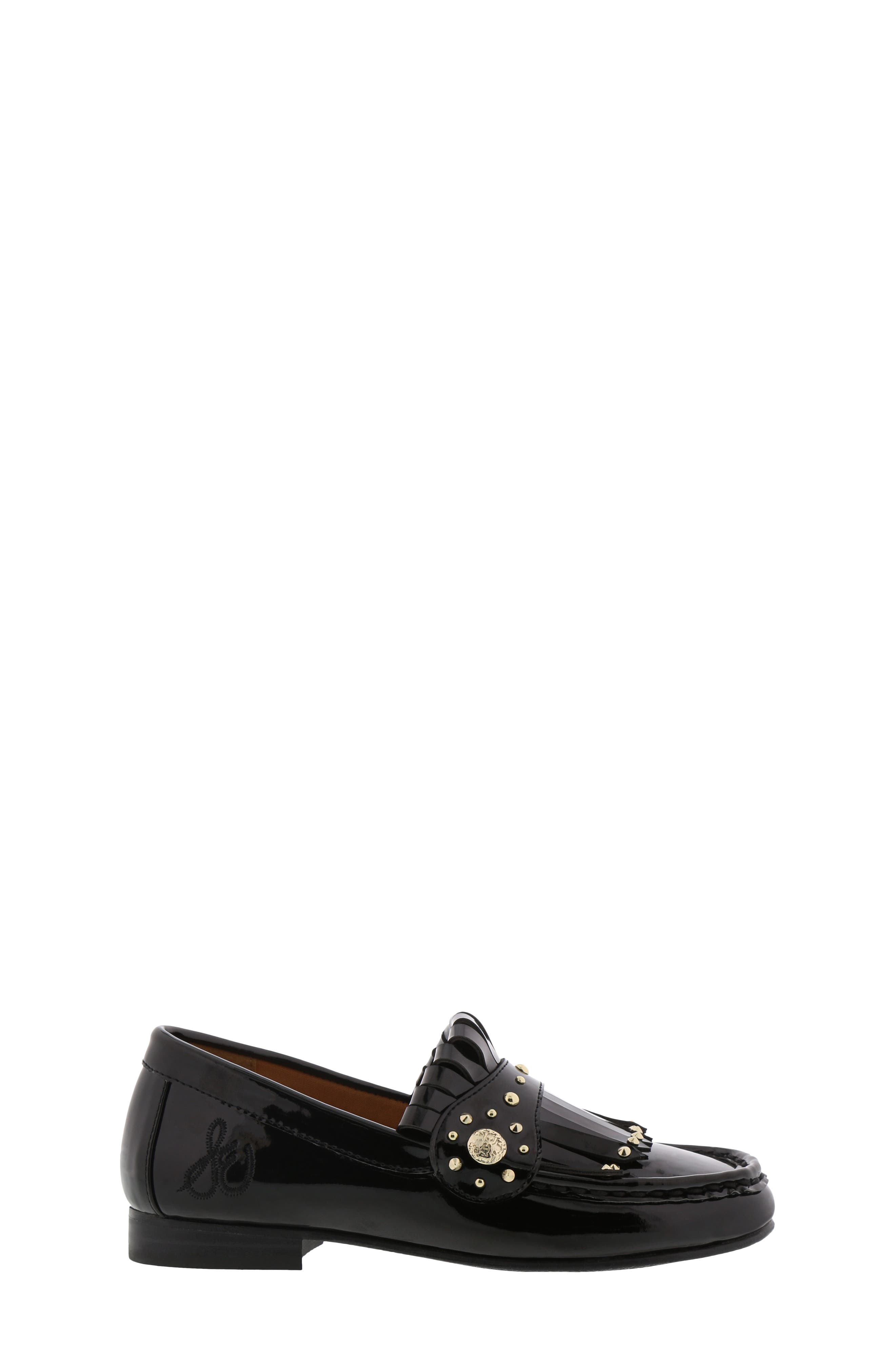 Gabriella Serona Studded Kiltie Loafer,                             Alternate thumbnail 3, color,                             BLACK