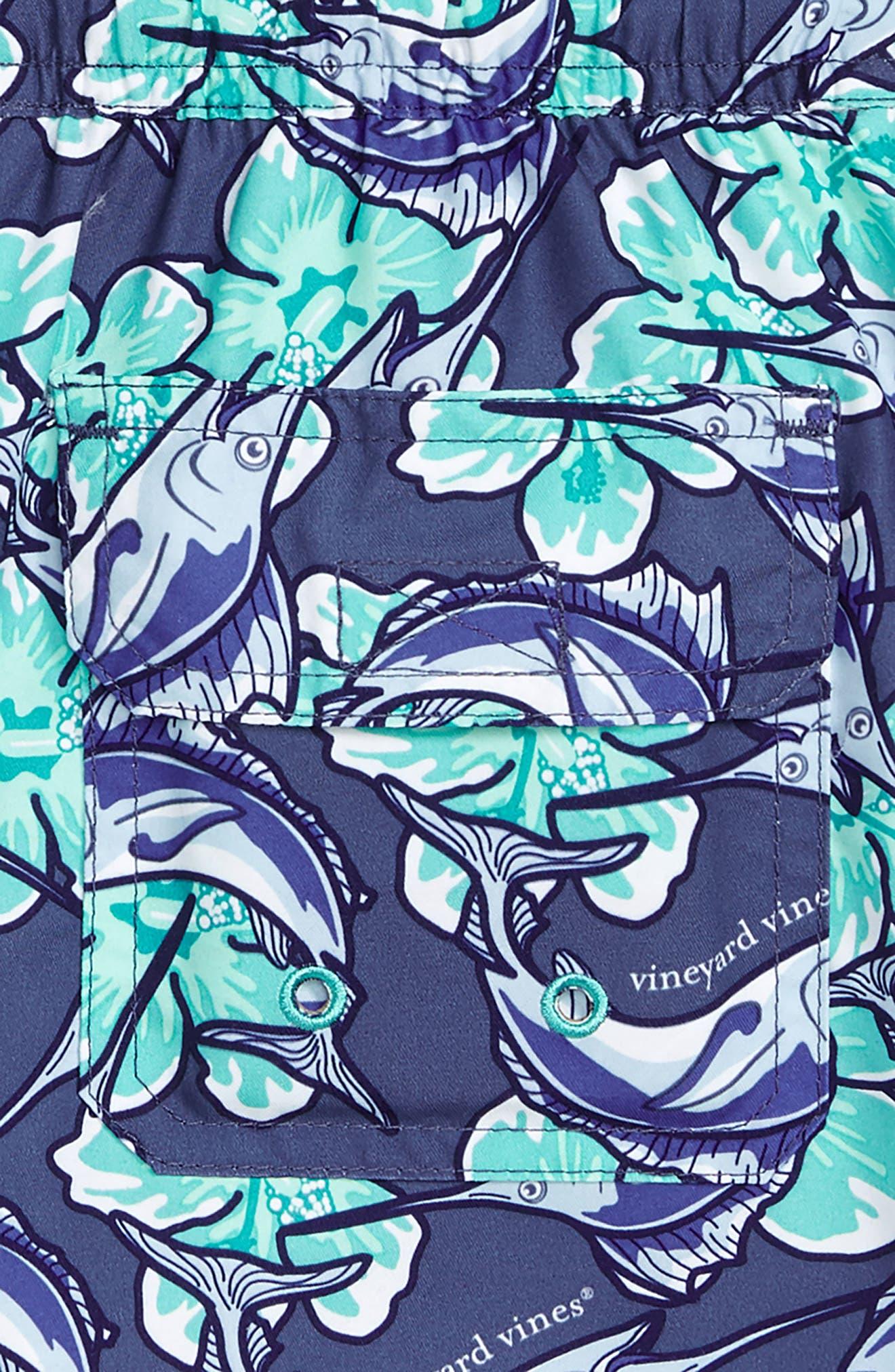 Chappy Marlin Flower Swim Trunks,                             Alternate thumbnail 3, color,                             MOONSHINE