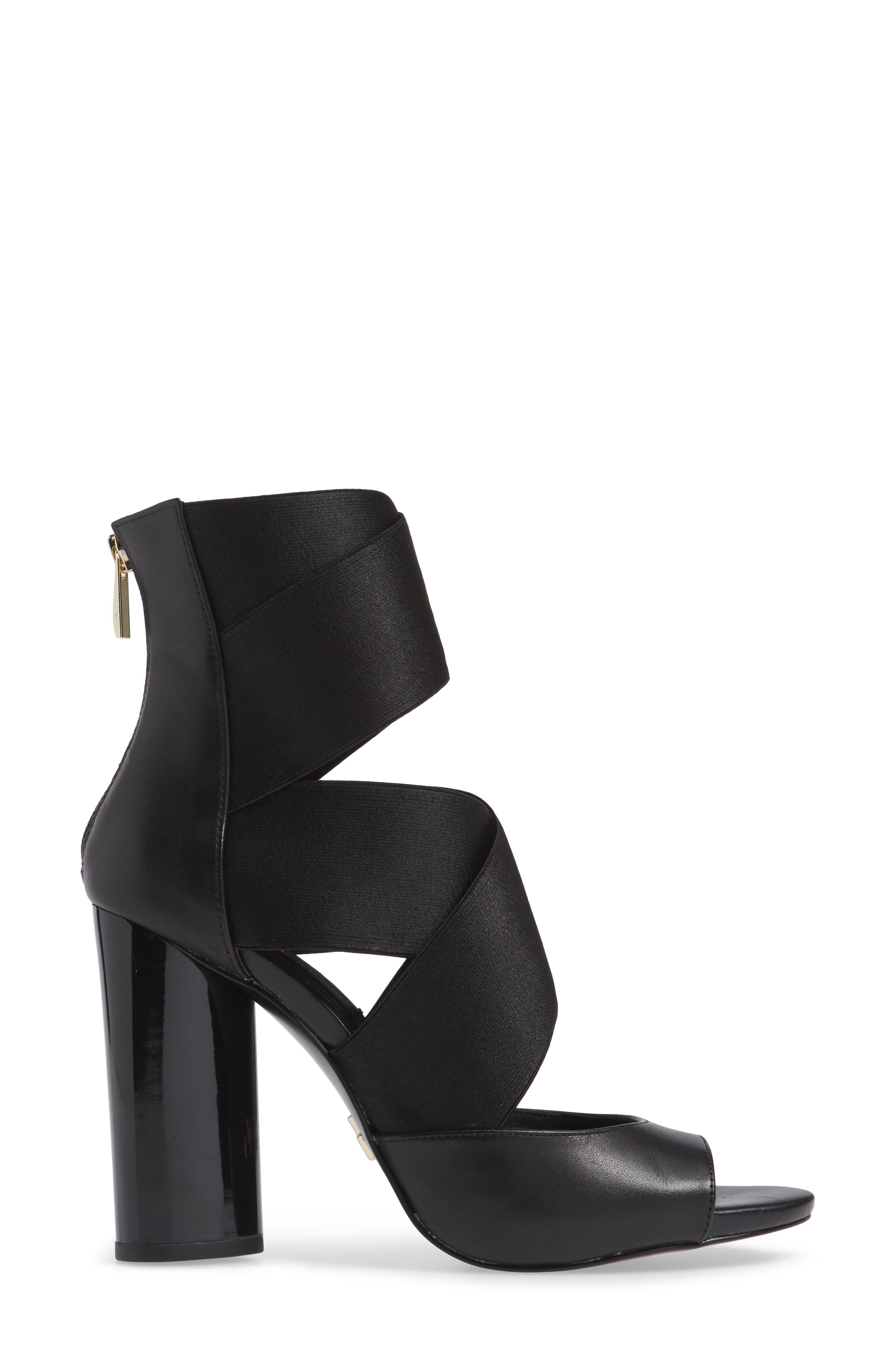 Donna Karan Briana Strappy High Sandal,                             Alternate thumbnail 3, color,                             BLACK CALF SHINY SATIN ELASTIC