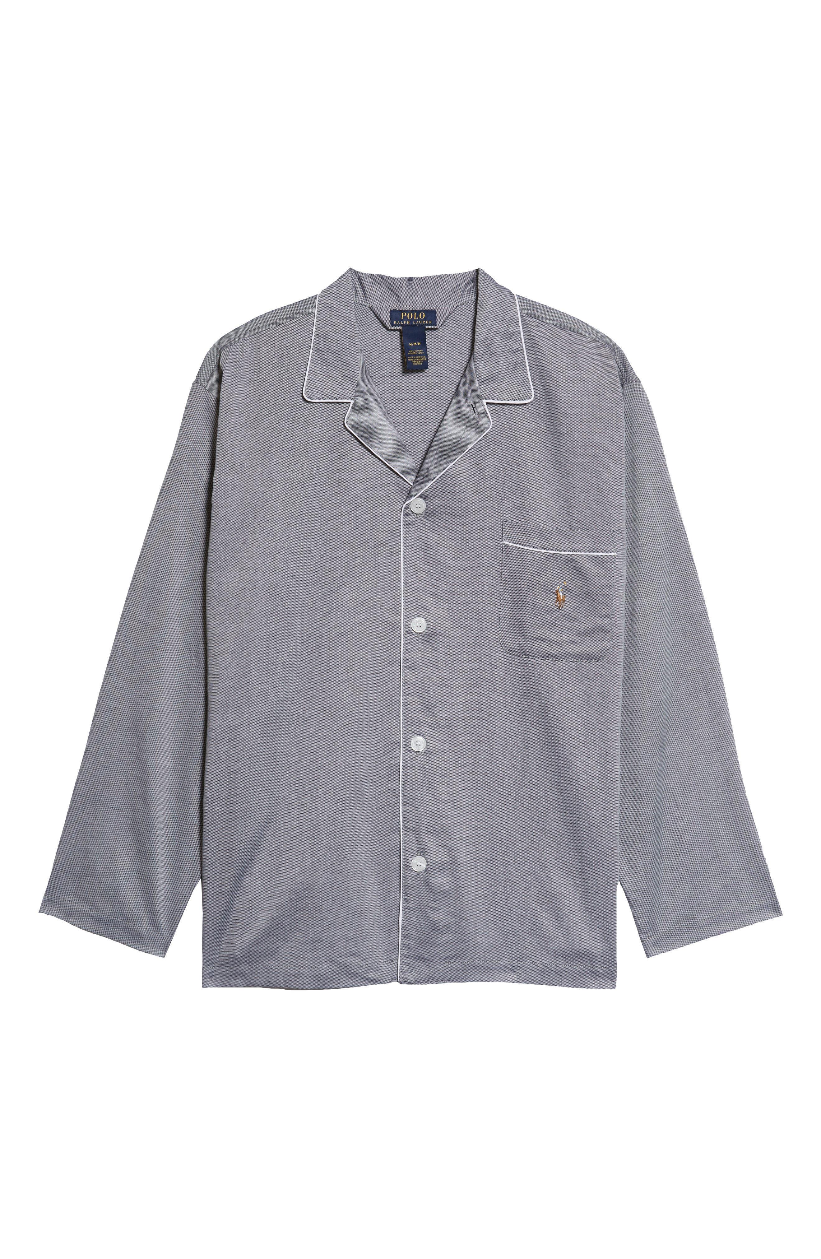 Pajama Top,                             Alternate thumbnail 7, color,                             BLACK ROYAL OXFORD