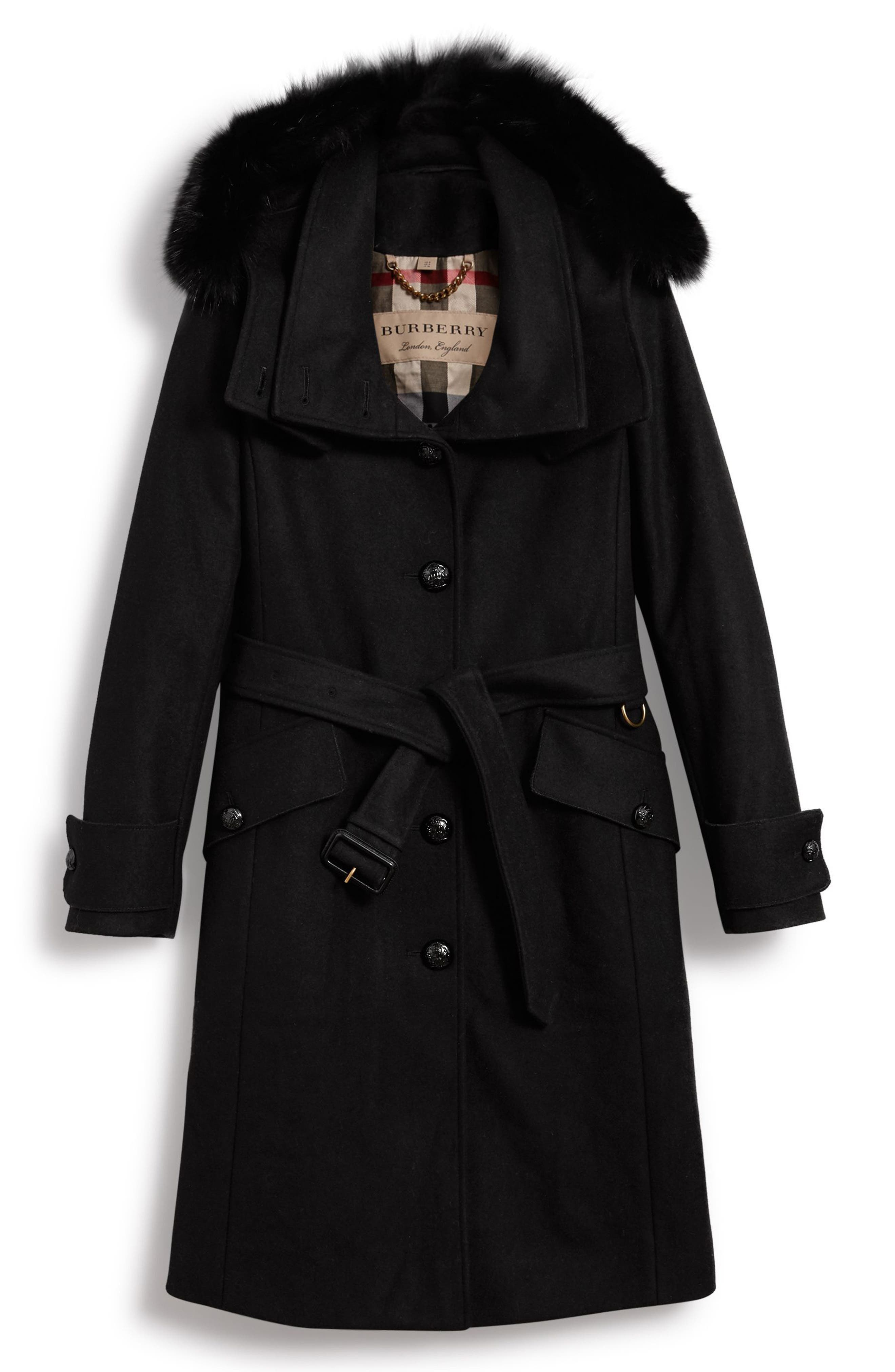 Claybrooke Wool Blend Coat with Removable Genuine Fox Fur Trim,                             Alternate thumbnail 6, color,                             001