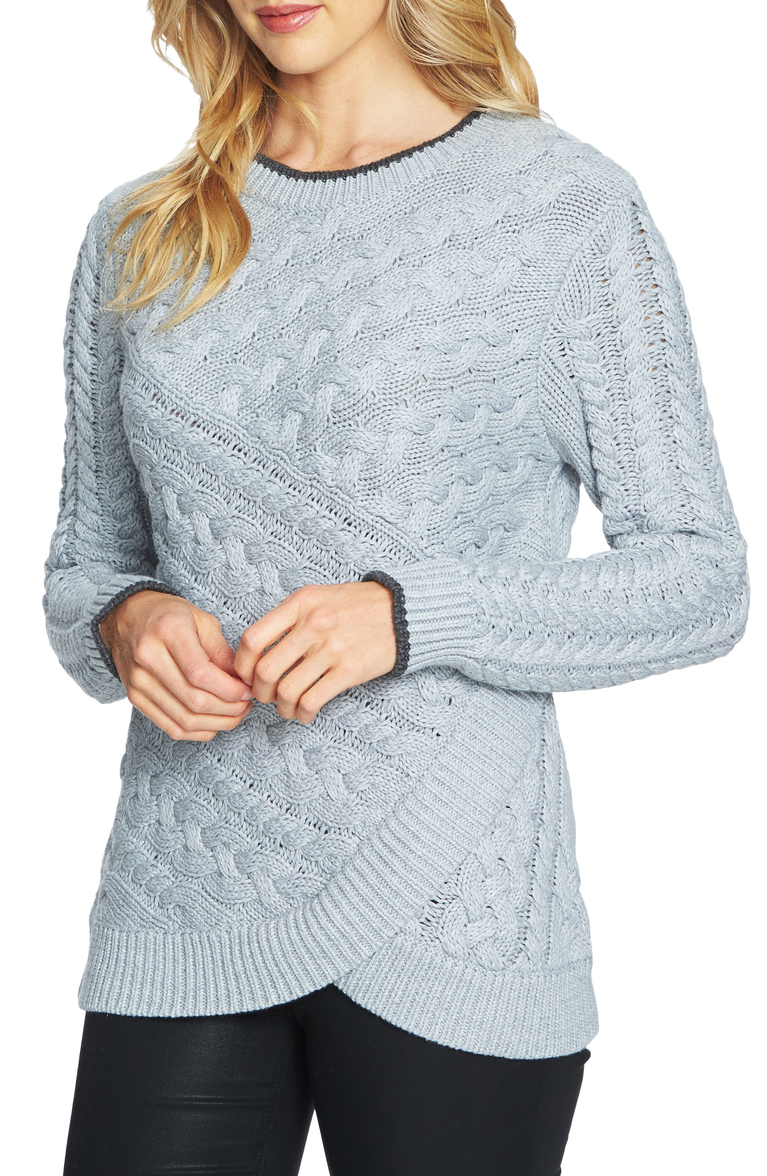 Double Layer Cable Stitch Sweater,                         Main,                         color,