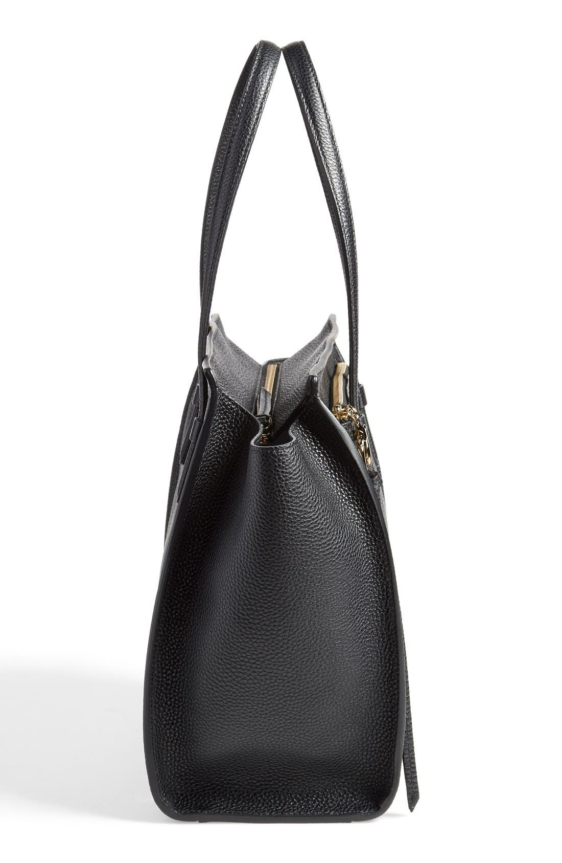 Medium Amy Calfskin Leather Tote,                             Alternate thumbnail 4, color,                             001