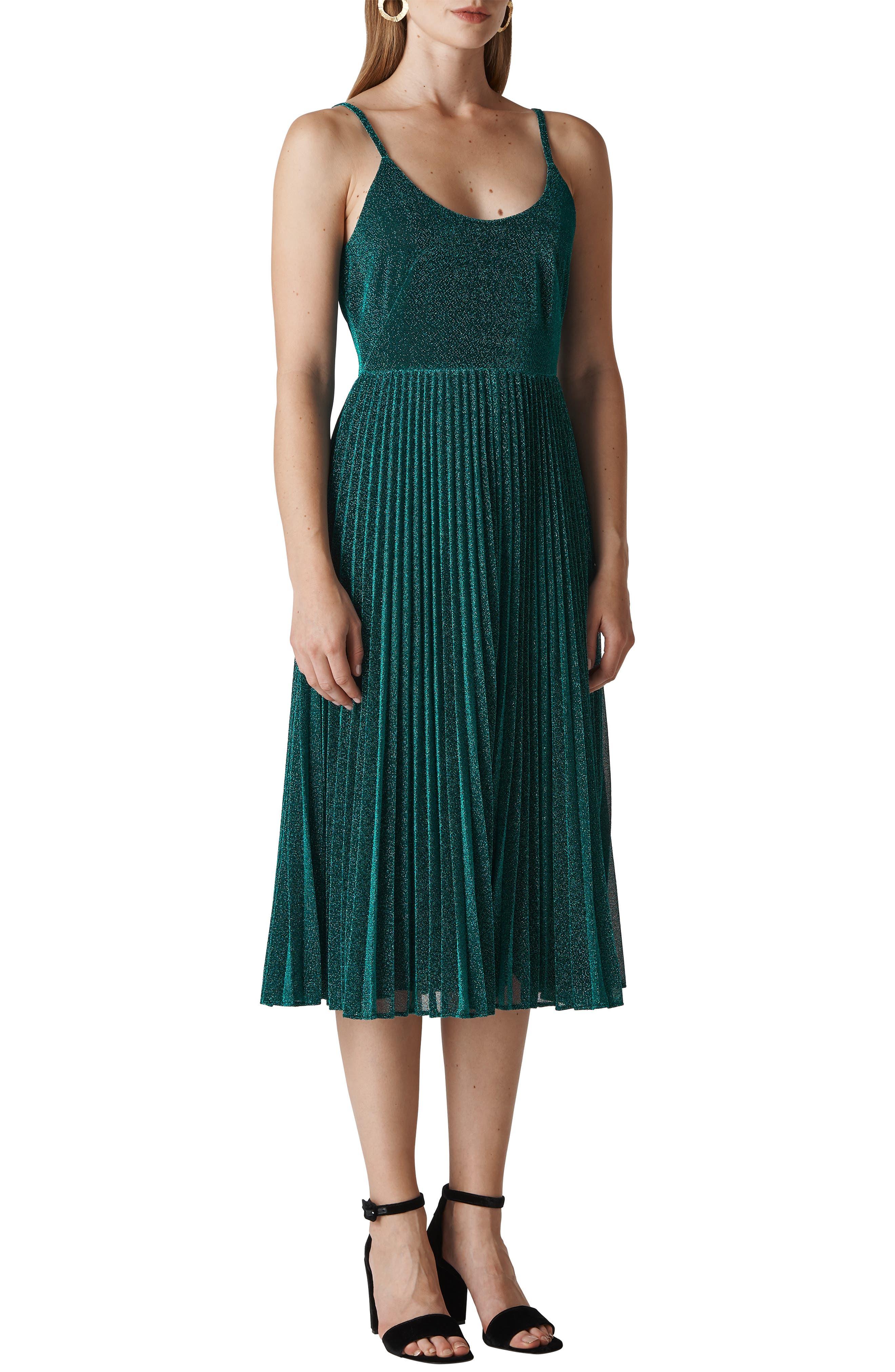 Regina Sparkle Pleated Midi Dress,                         Main,                         color, GREEN