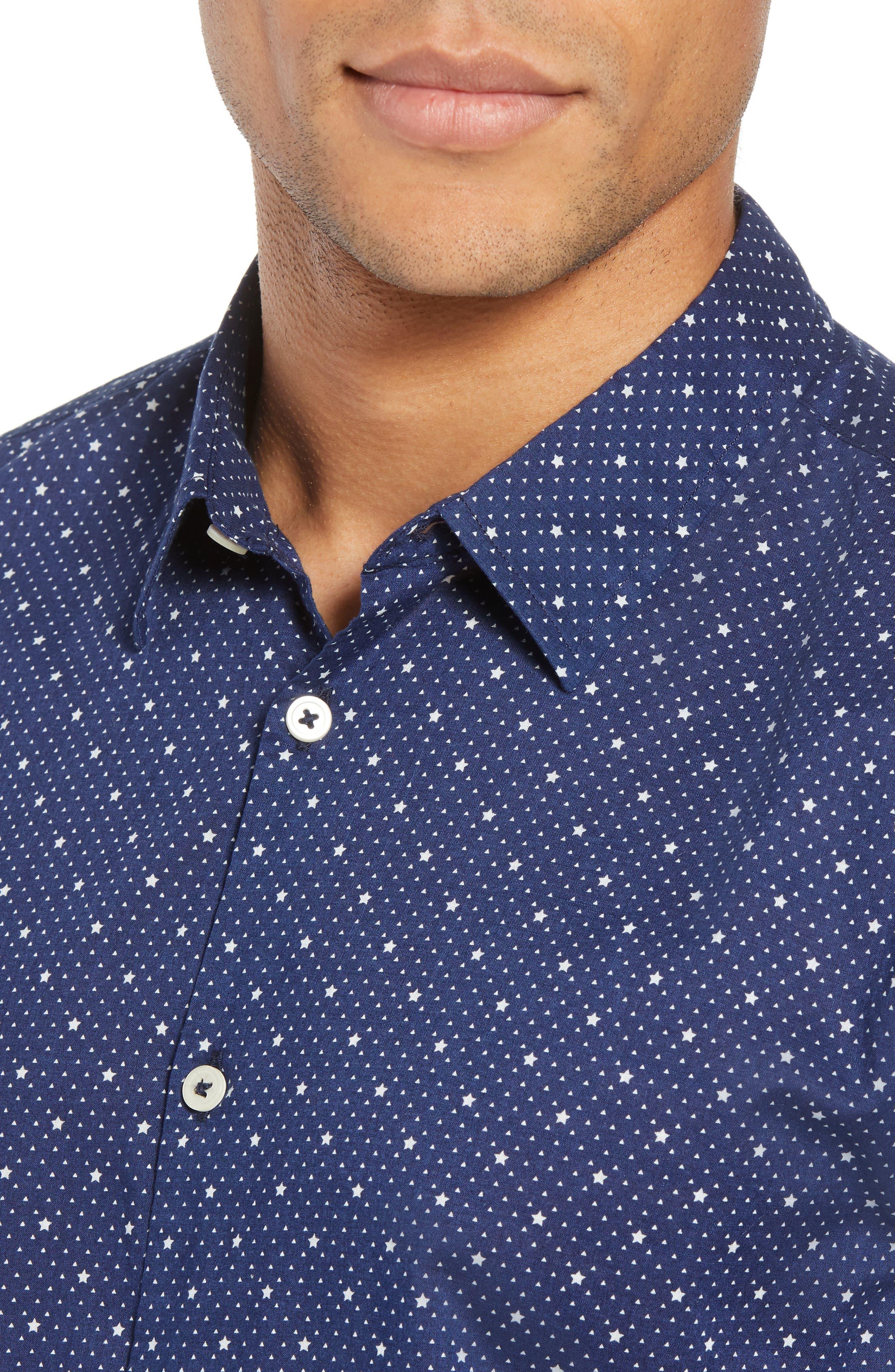Star Print Woven Shirt,                             Alternate thumbnail 4, color,                             418