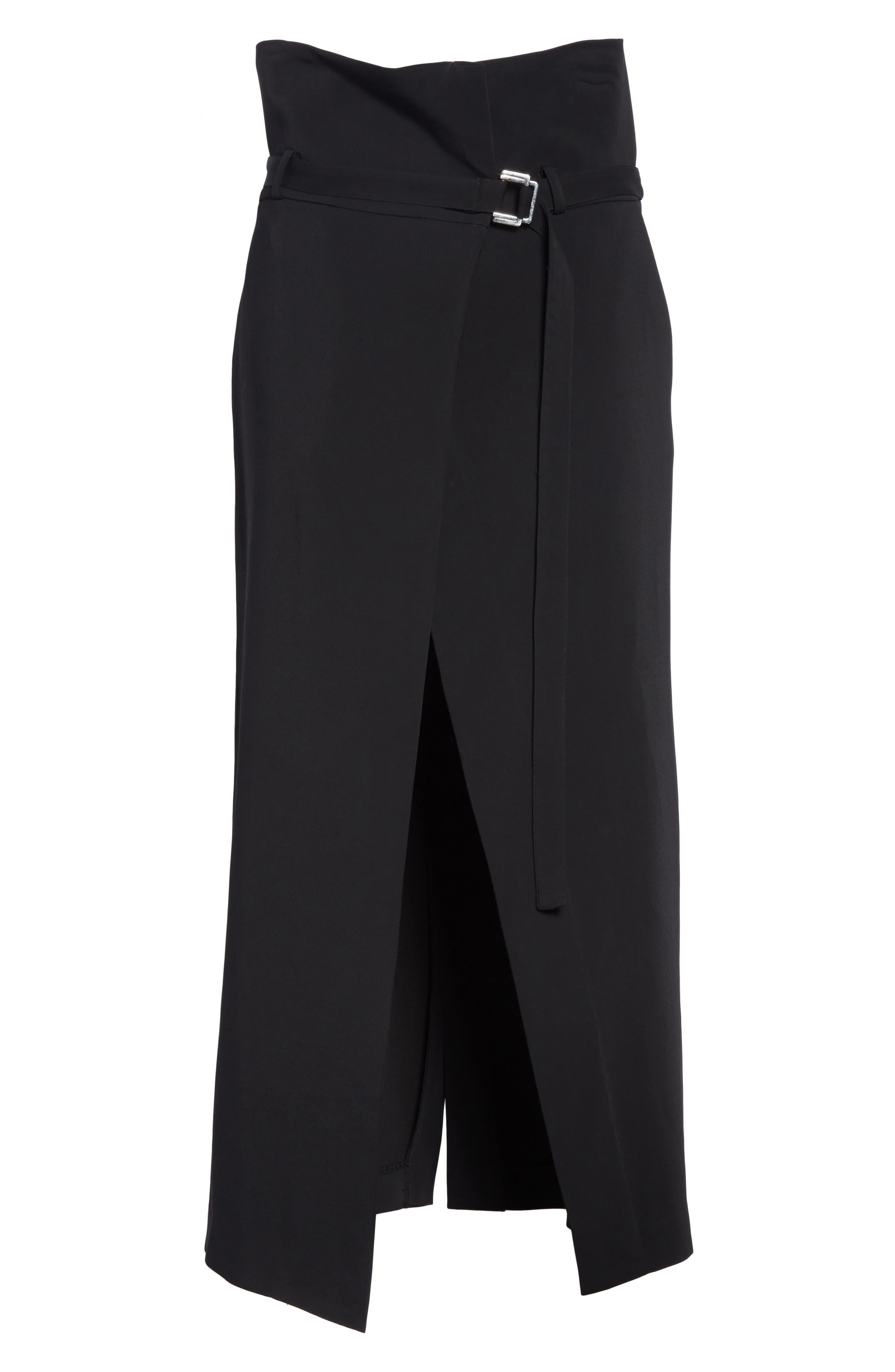 Paperbag Waist Split Front Skirt,                             Alternate thumbnail 6, color,                             001