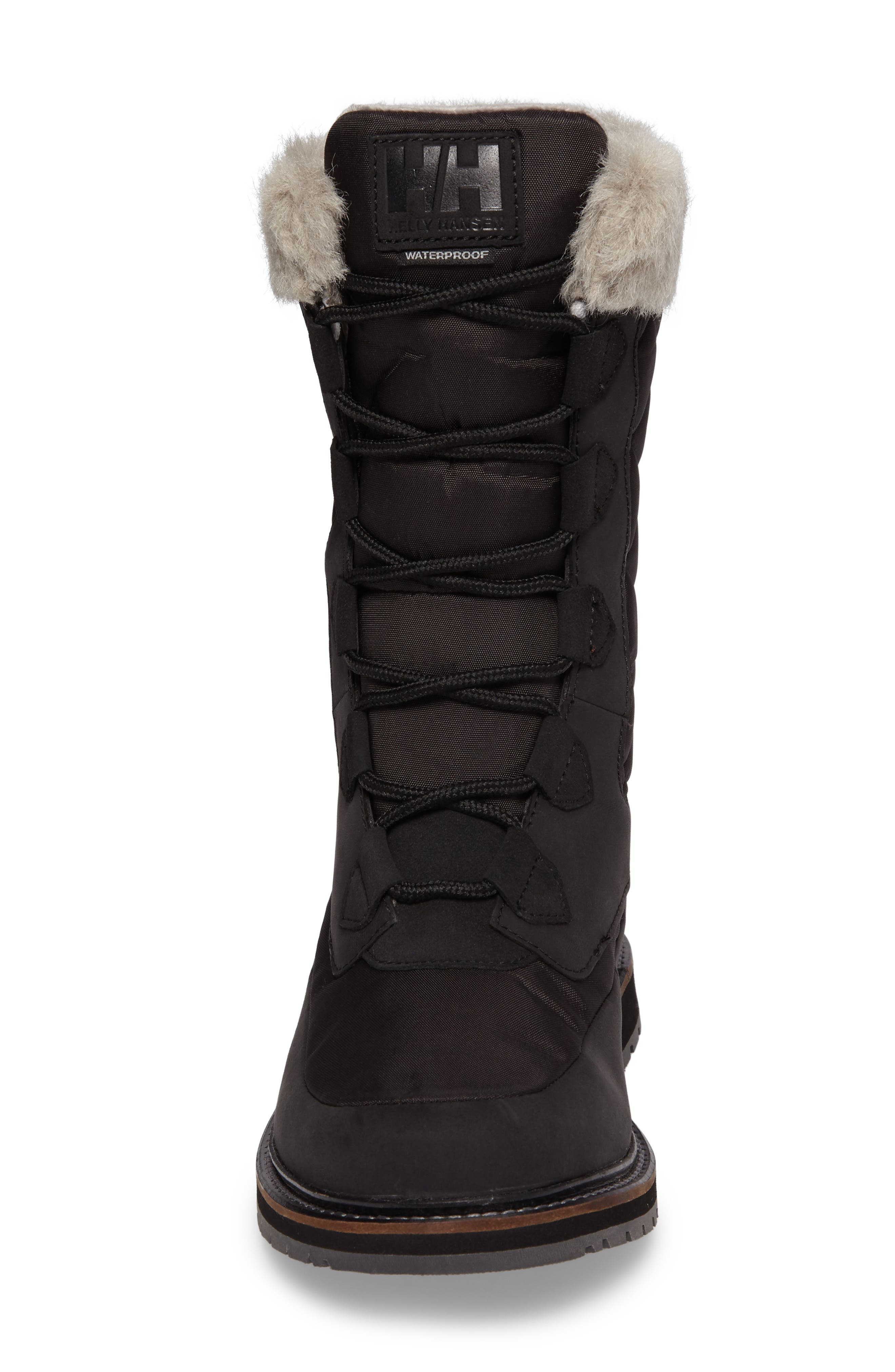 Arosa Waterproof Boot with Faux Fur Trim,                             Alternate thumbnail 4, color,                             001