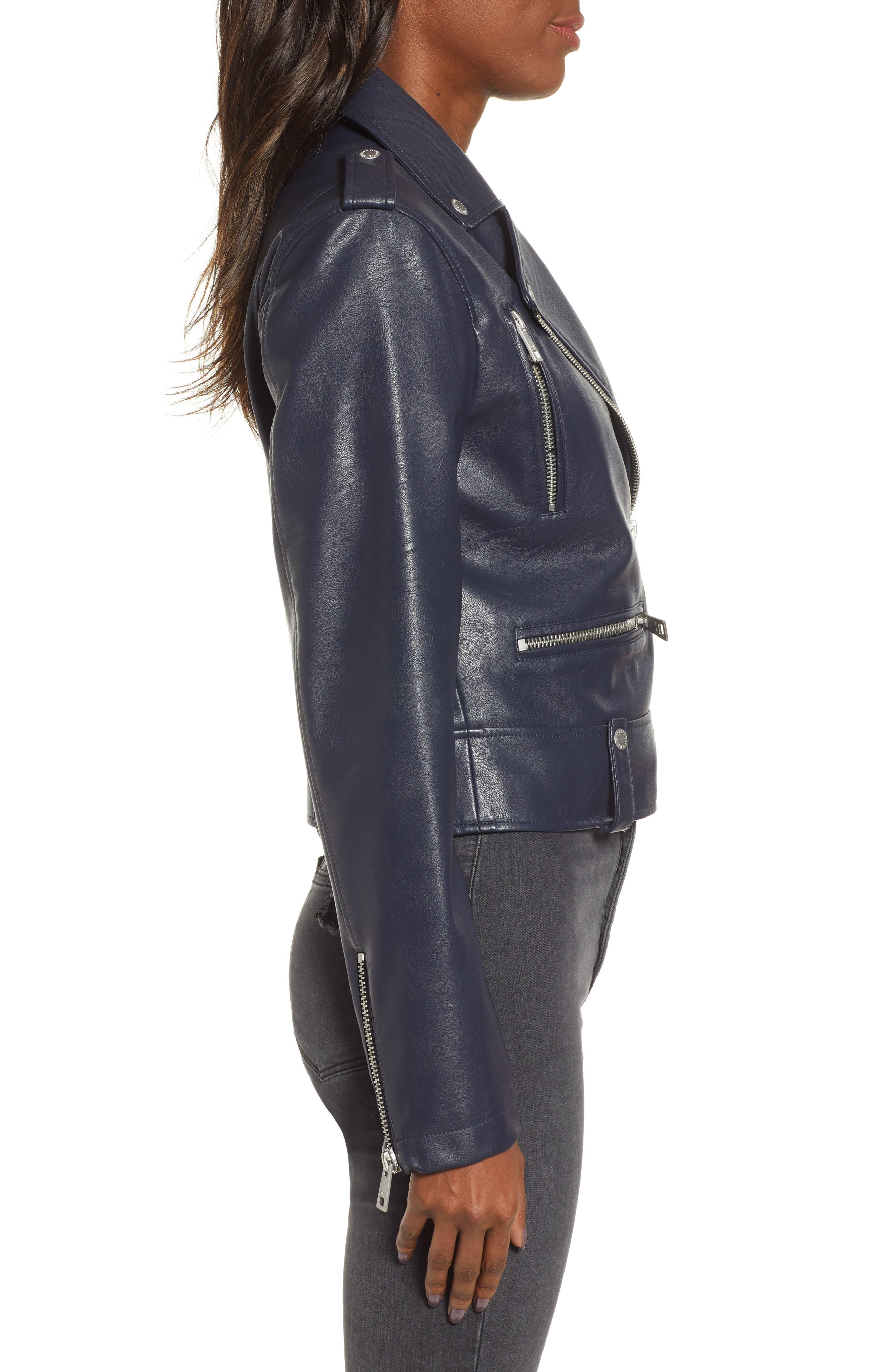 Faux Leather Moto Jacket,                             Alternate thumbnail 3, color,                             NAVY